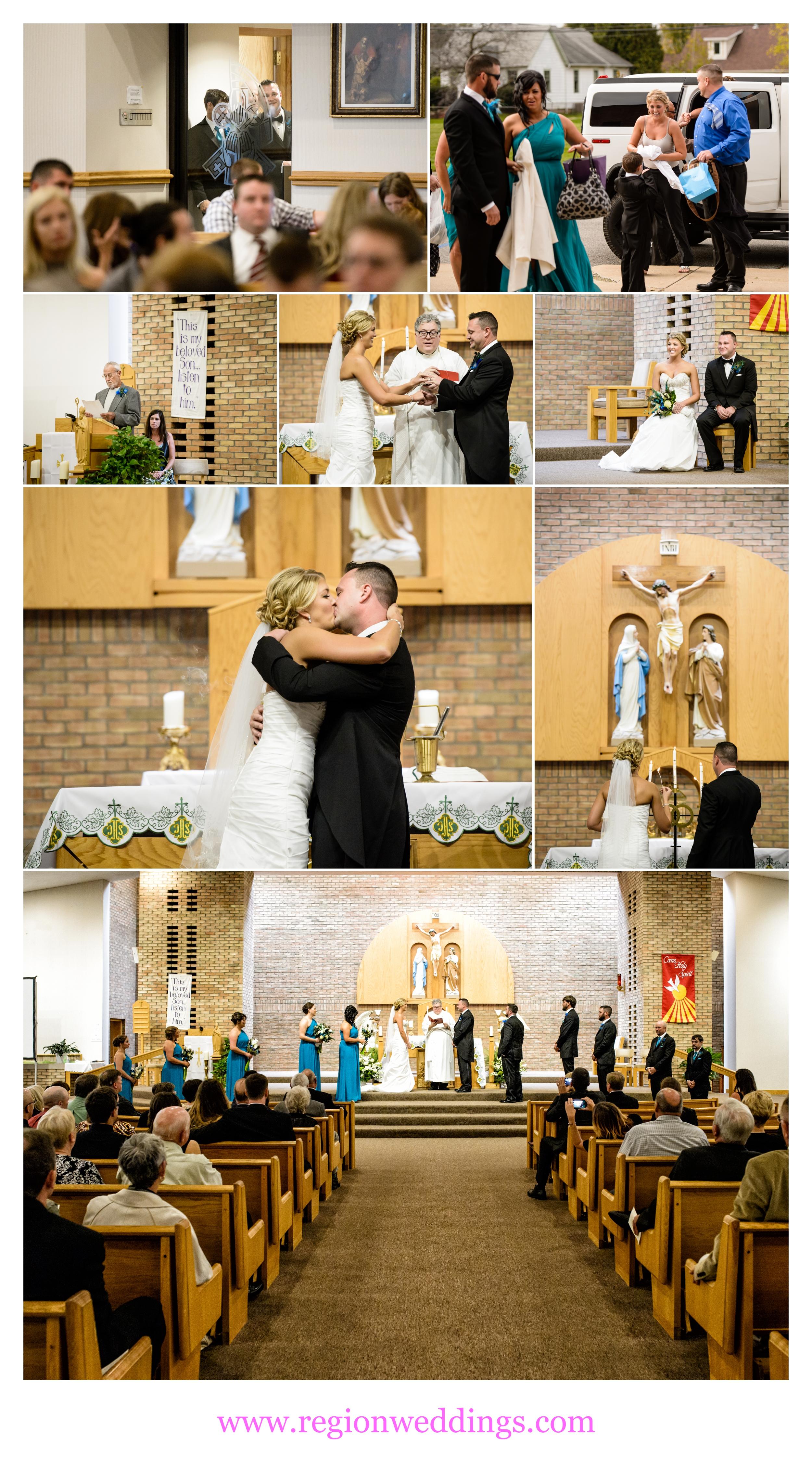 Wedding ceremony at St. Patrick Catholic Church in Chesterton, Indiana.