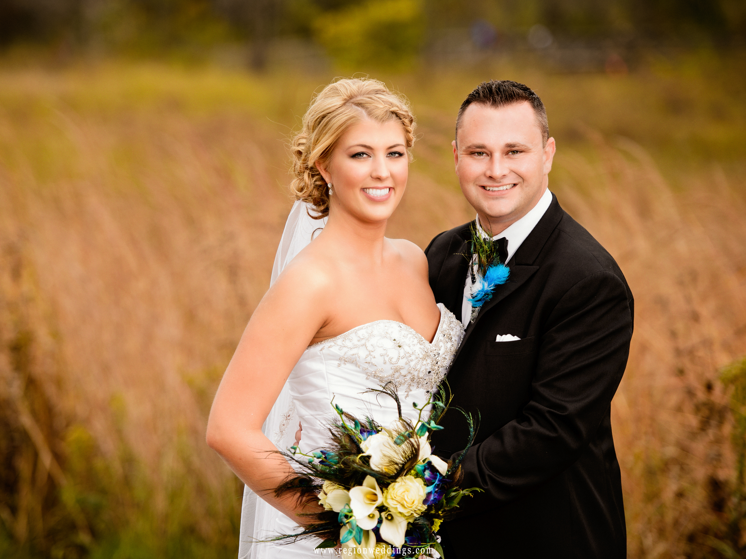 A bride and groom portrait in front of the golden wildflowers at Coffee Creek Park.