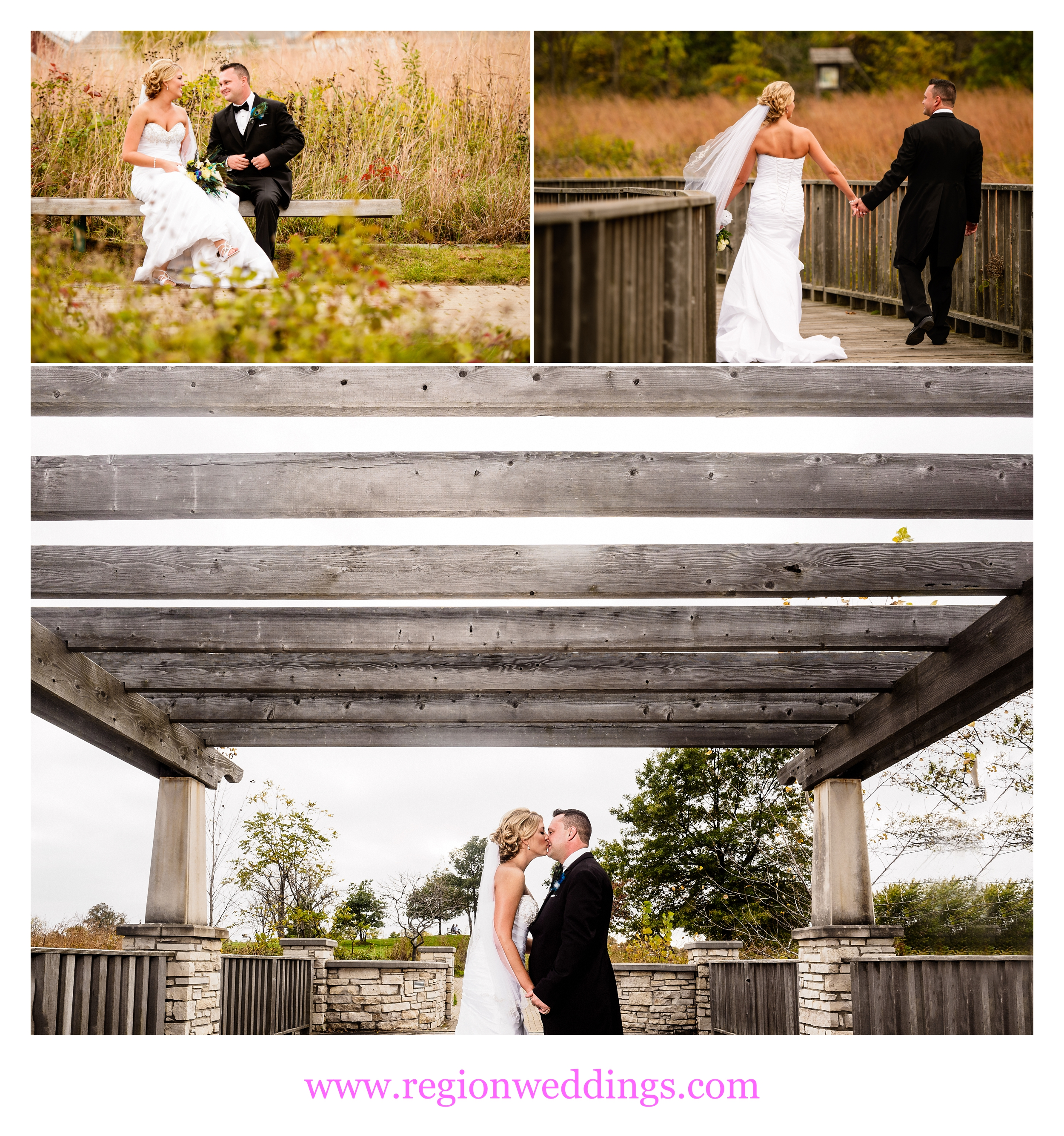 Wedding photos at Coffee Creek Nature Preserve in Chesterton, Indiana.