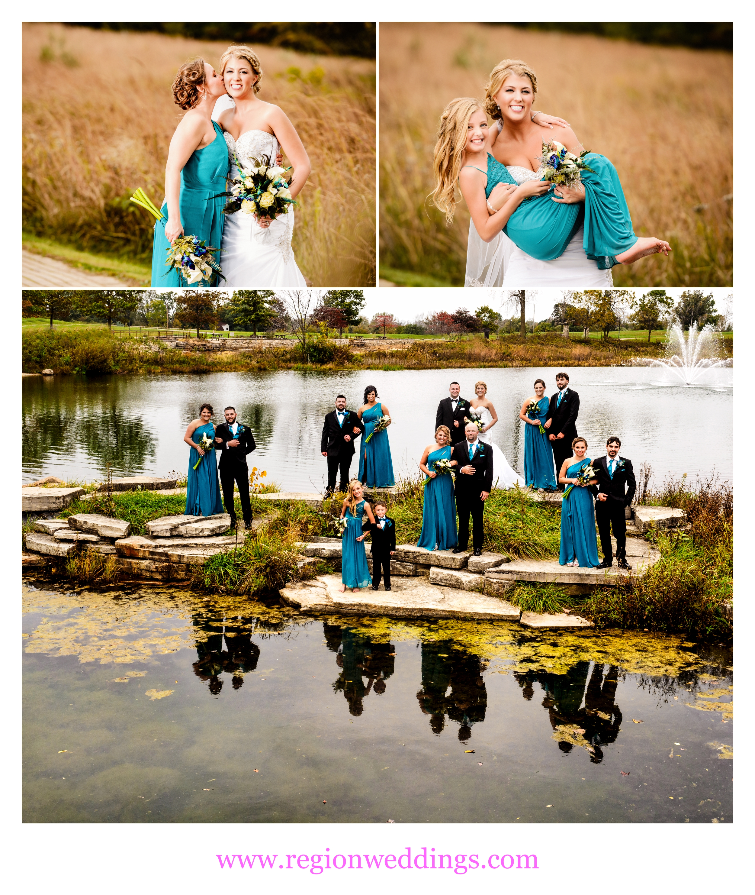 Wedding party photos at Coffee Creek Nature Preserve in Chesterton, Indiana.