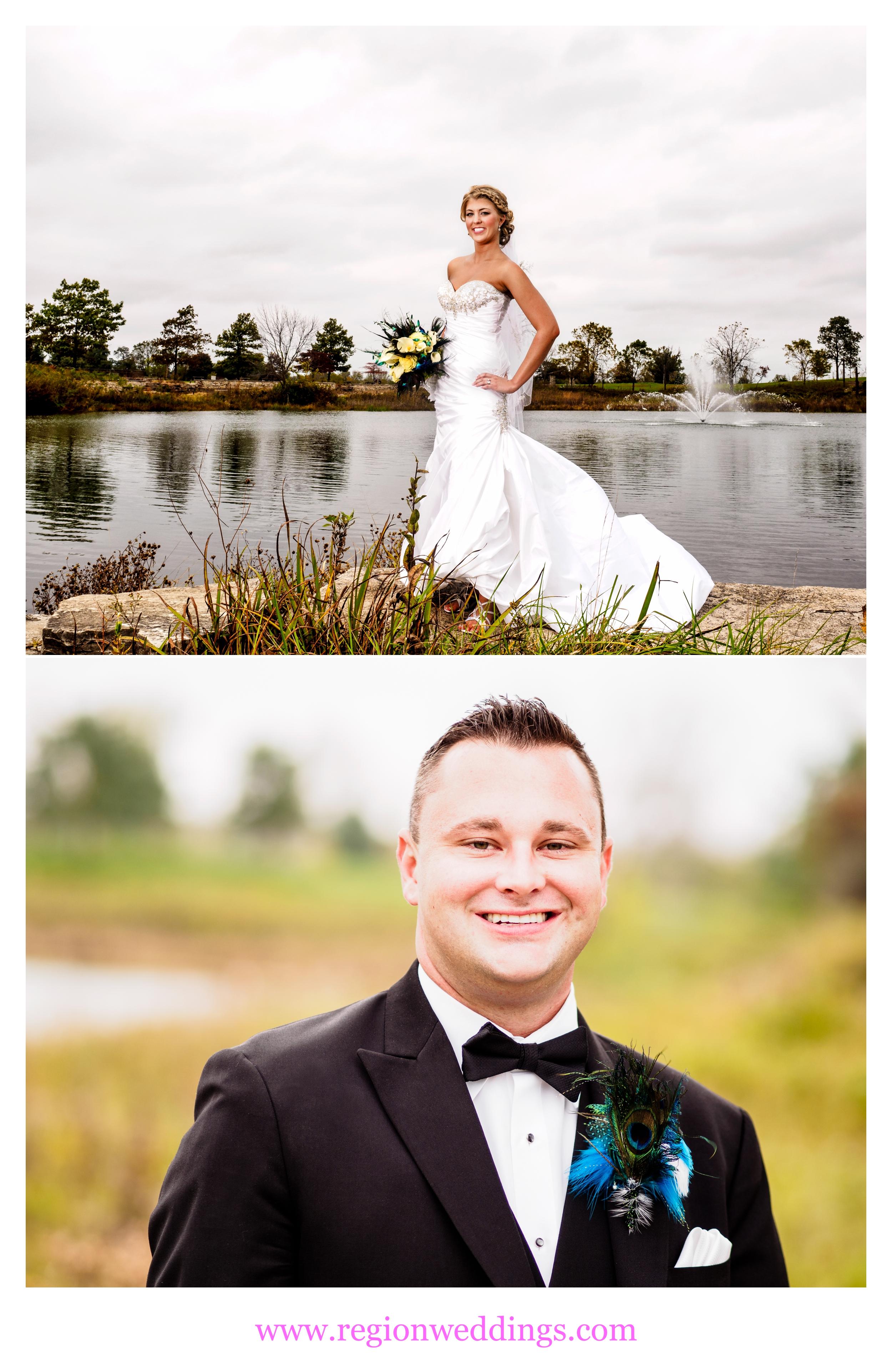 Bride and groom at Coffee Creek Park.