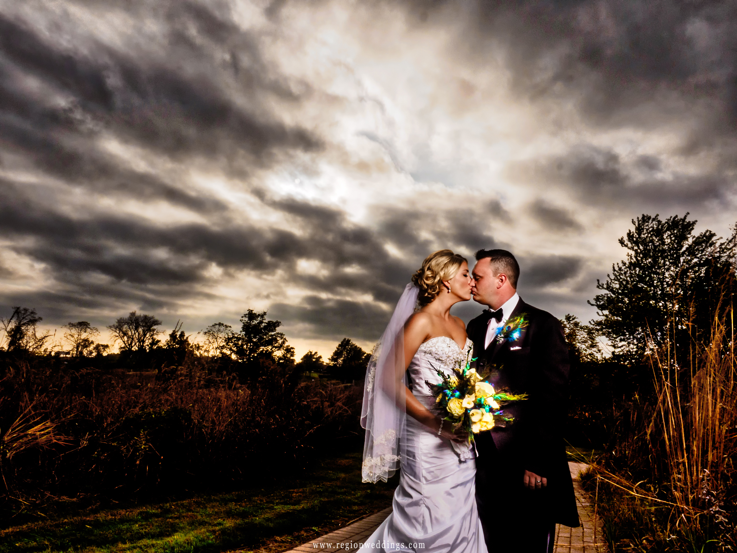 Dramatic clouds descend upon Coffee Creek Nature Preserve during wedding pictures.