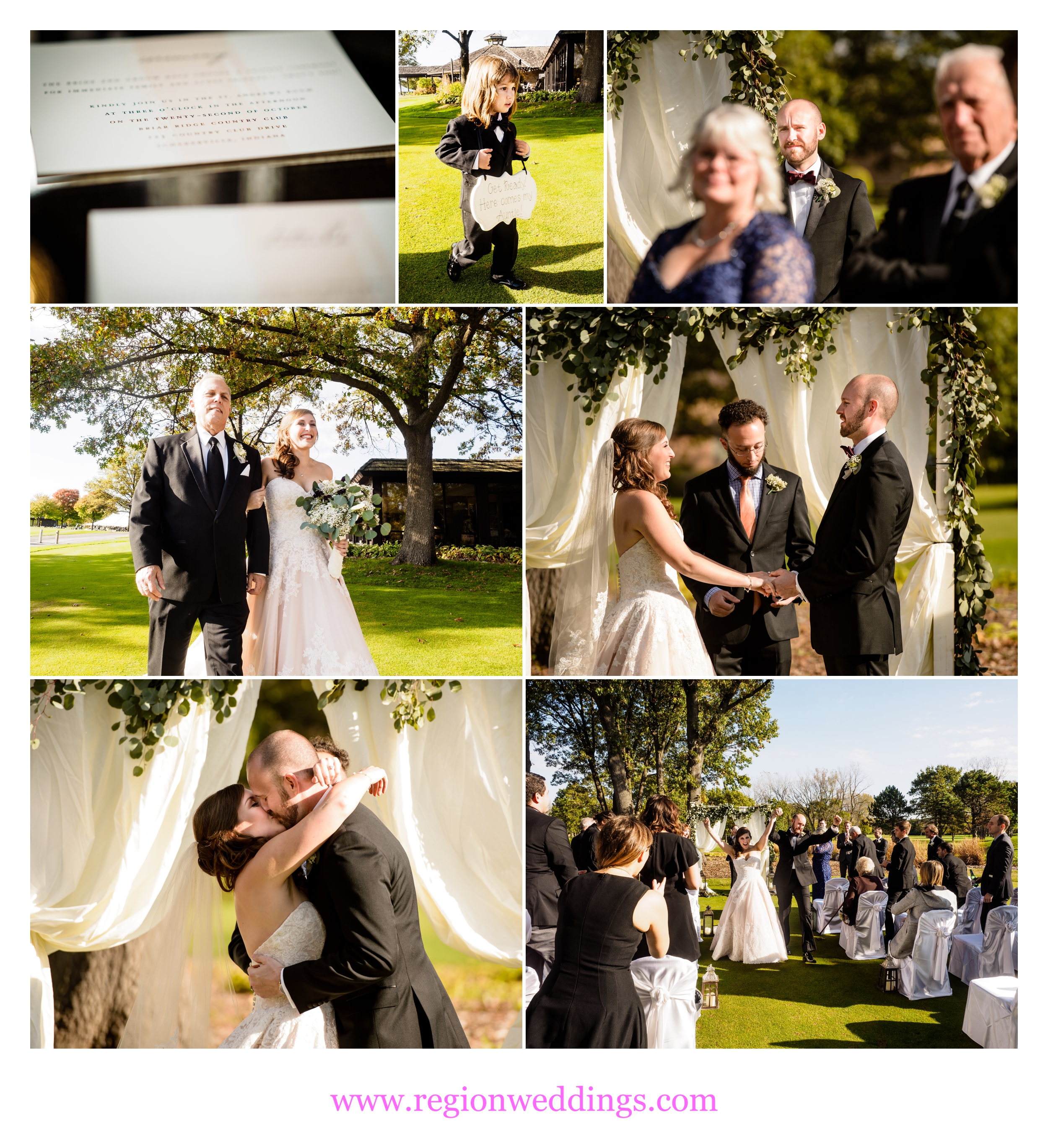 Outdoor wedding ceremony at Briar Ridge Country Club.