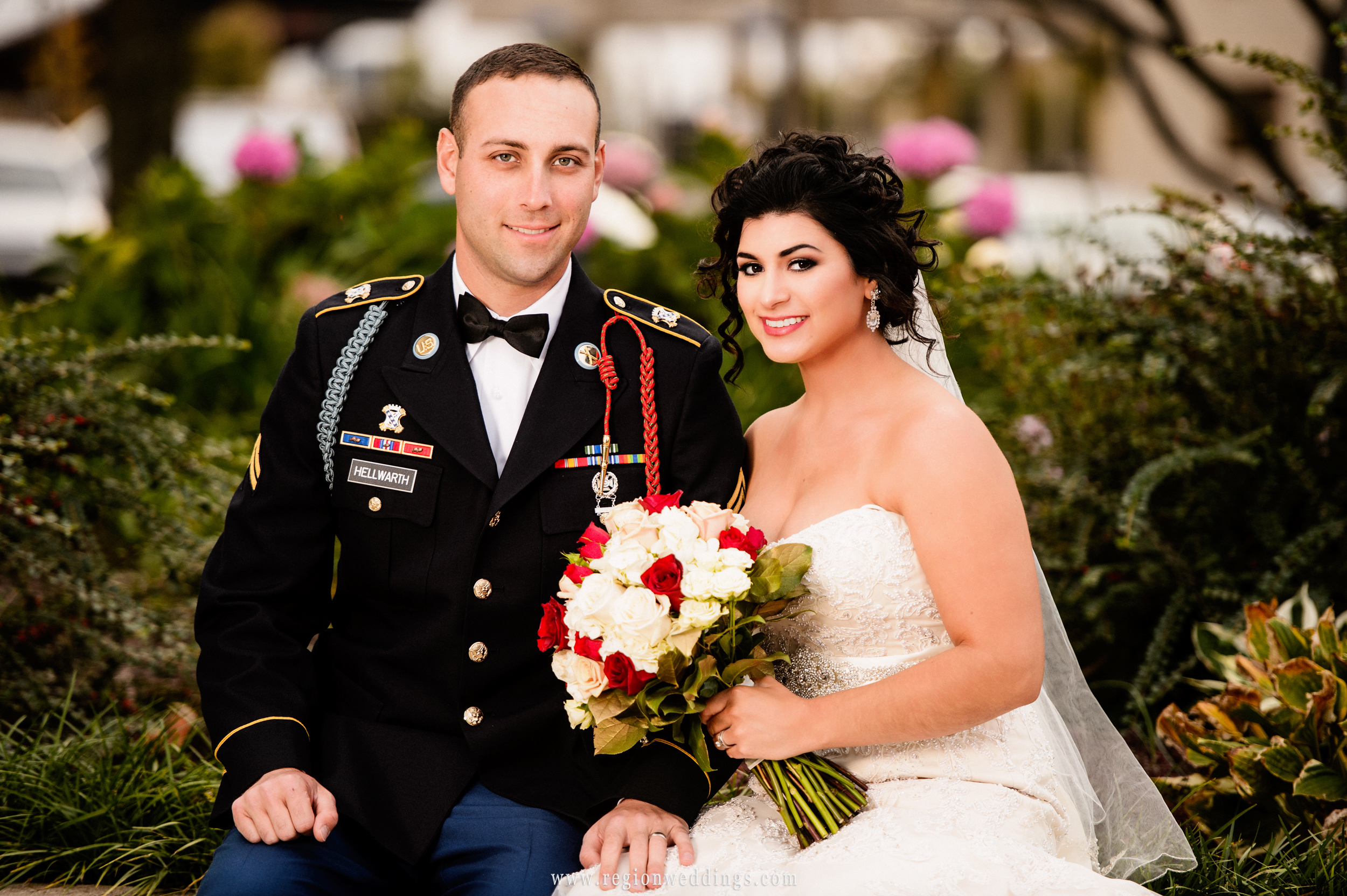 Military groom and his bride in downtown Valparaiso.