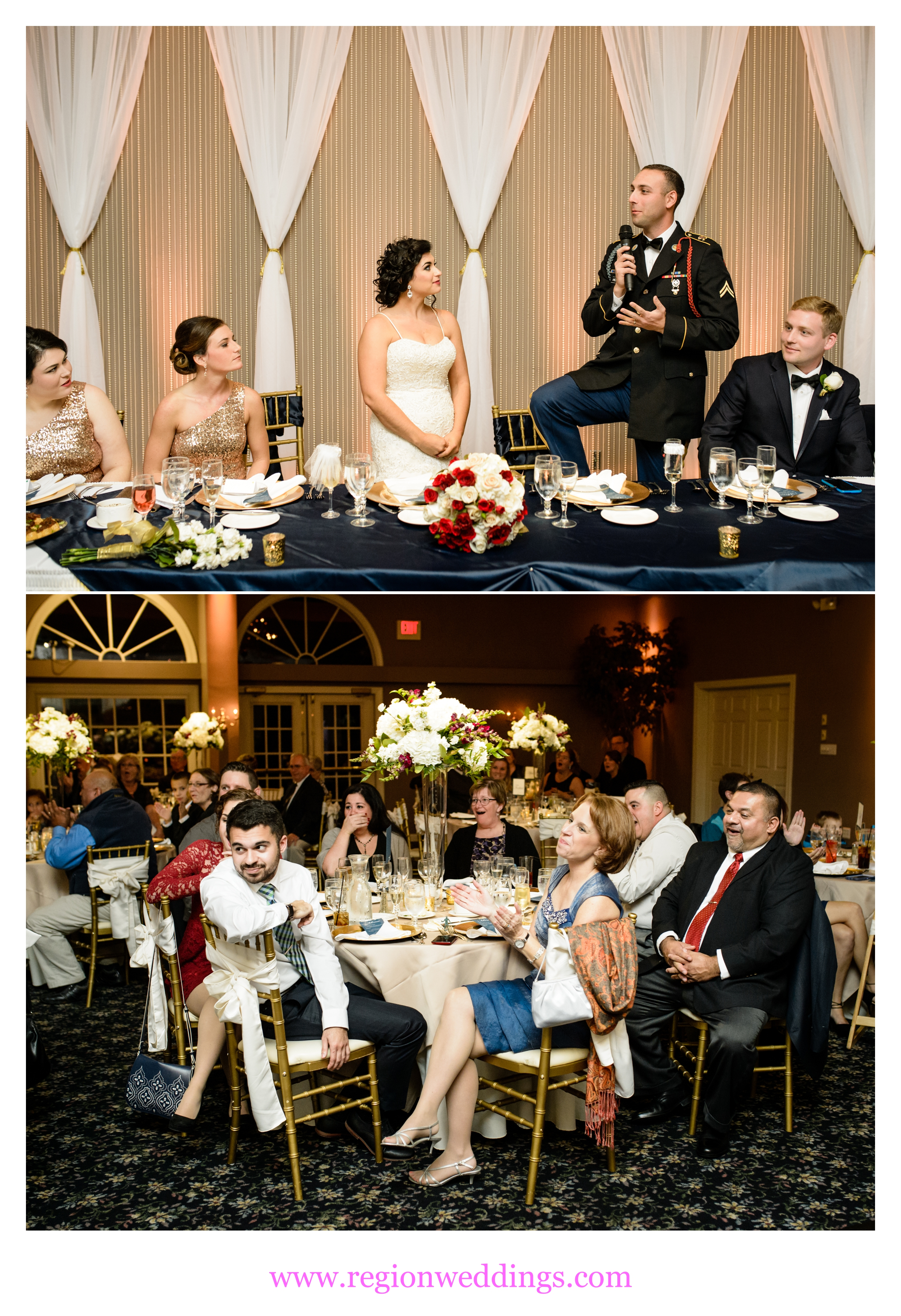 The bride and groom make a life announcement at their wedding reception at Aberdeen Manor.