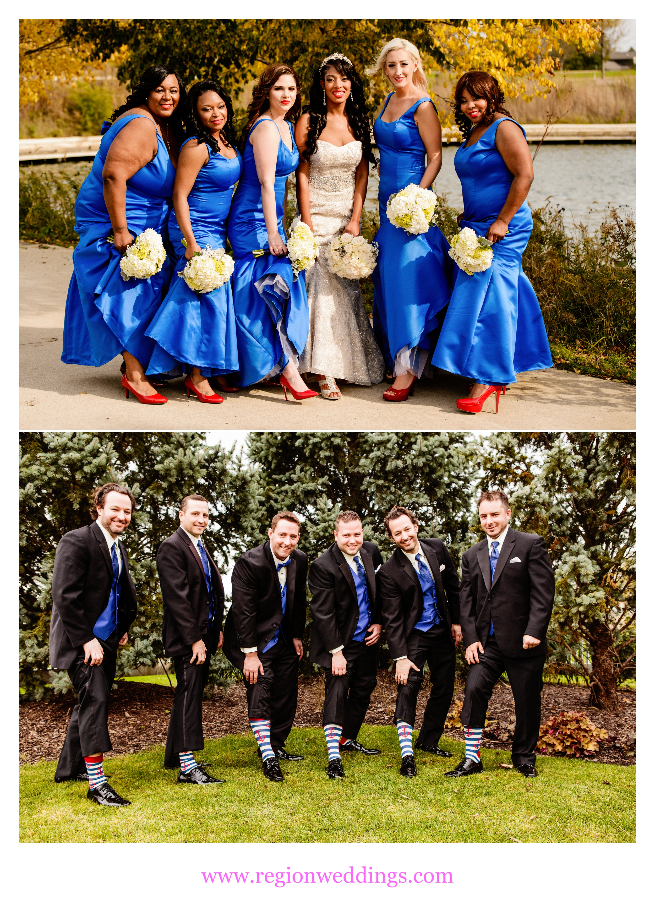 The wedding party shows off their socks and shoes.