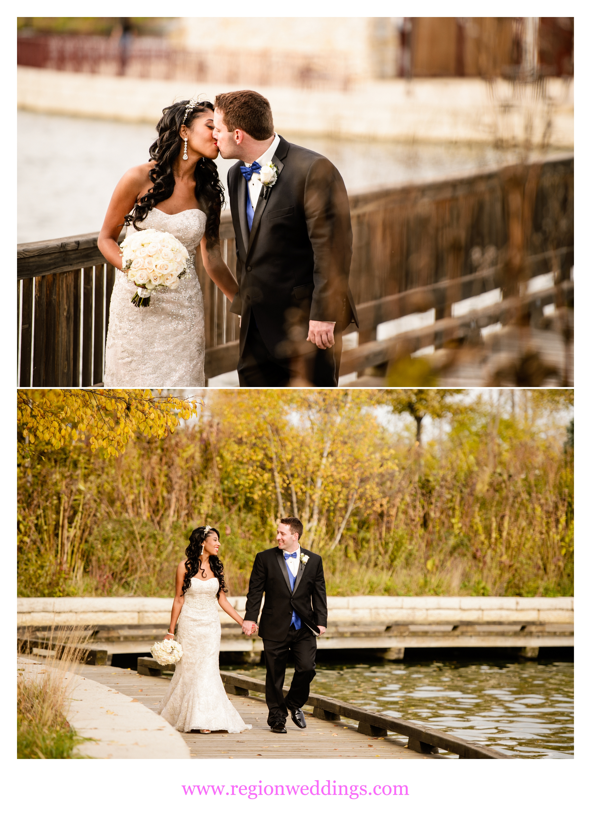 The bride and groom stroll around the lake at Centennial Park.