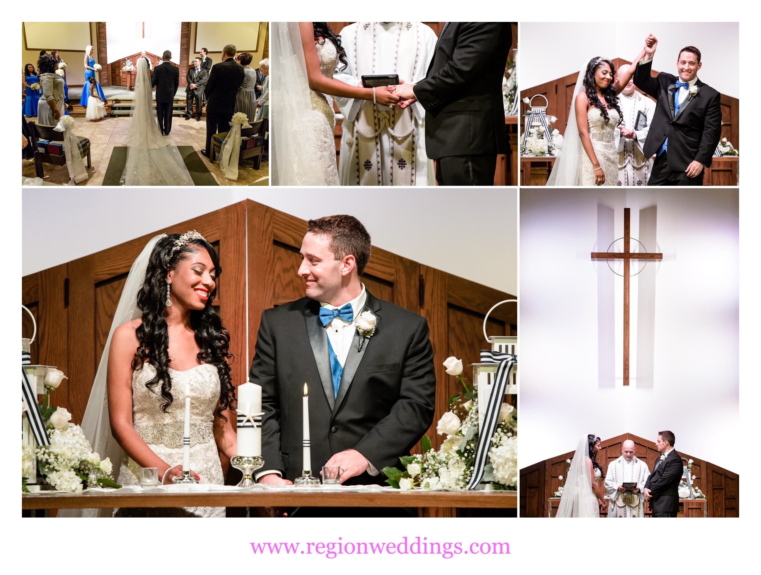 Wedding ceremony at Westminster Presbyterian Church in Munster, Indiana.