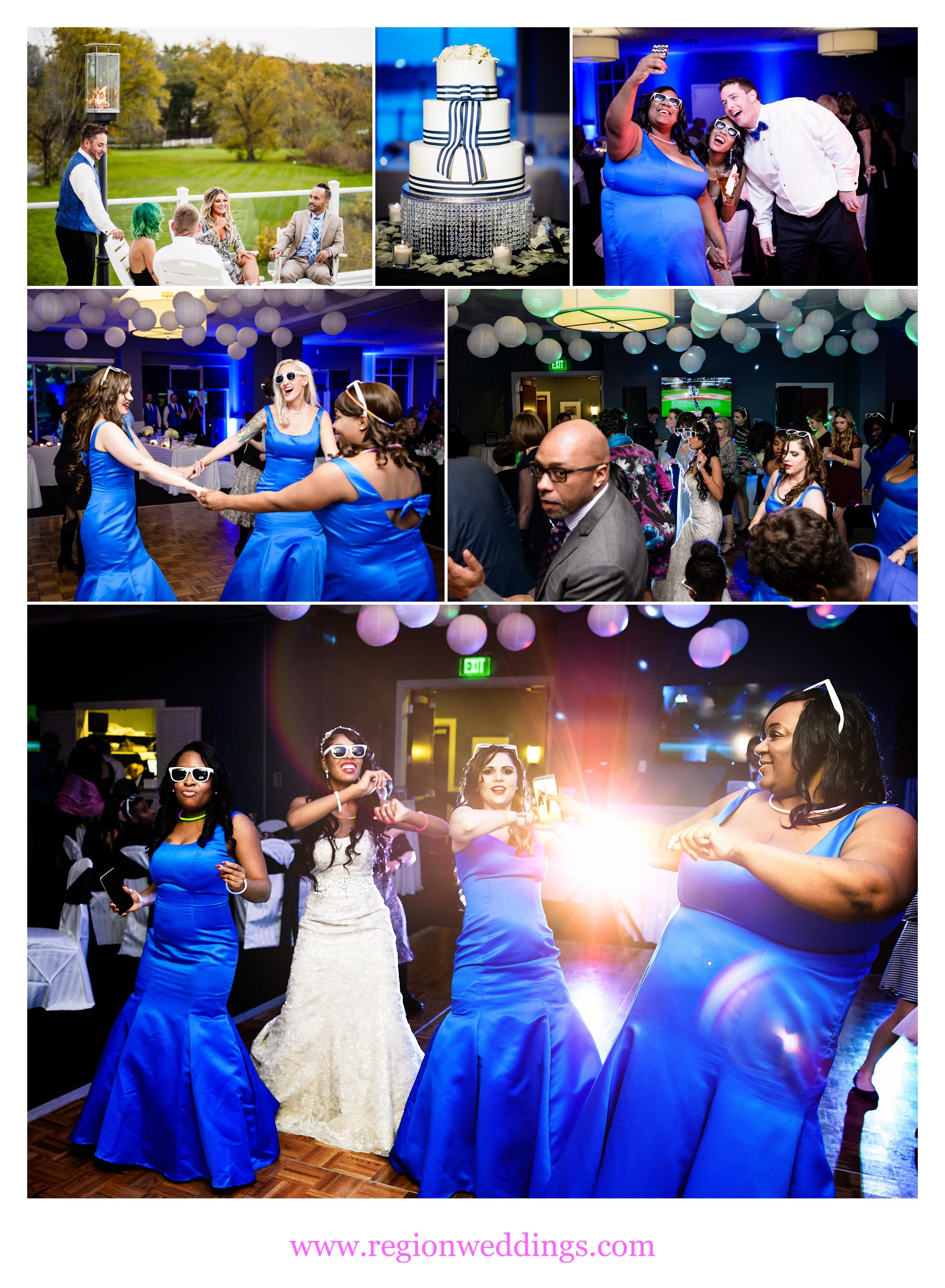 Wedding reception celebration at Lighthouse Restaurant in Cedar Lake, Indiana.