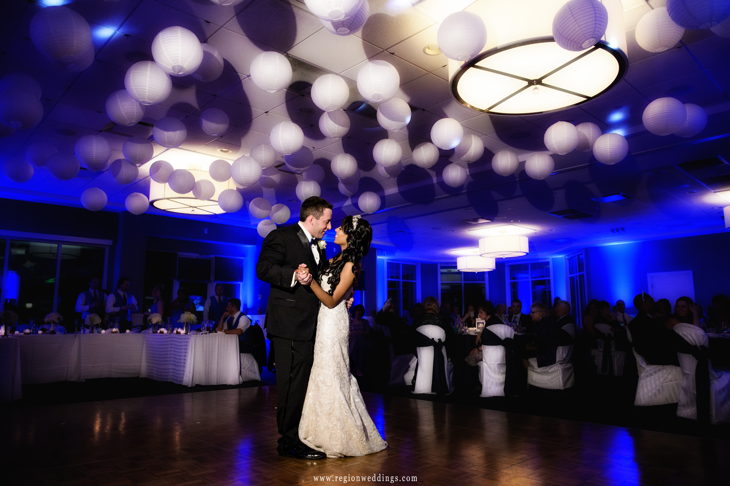 First dance for the bride and groom at Lighthouse Restaurant in Cedar Lake, Indiana.
