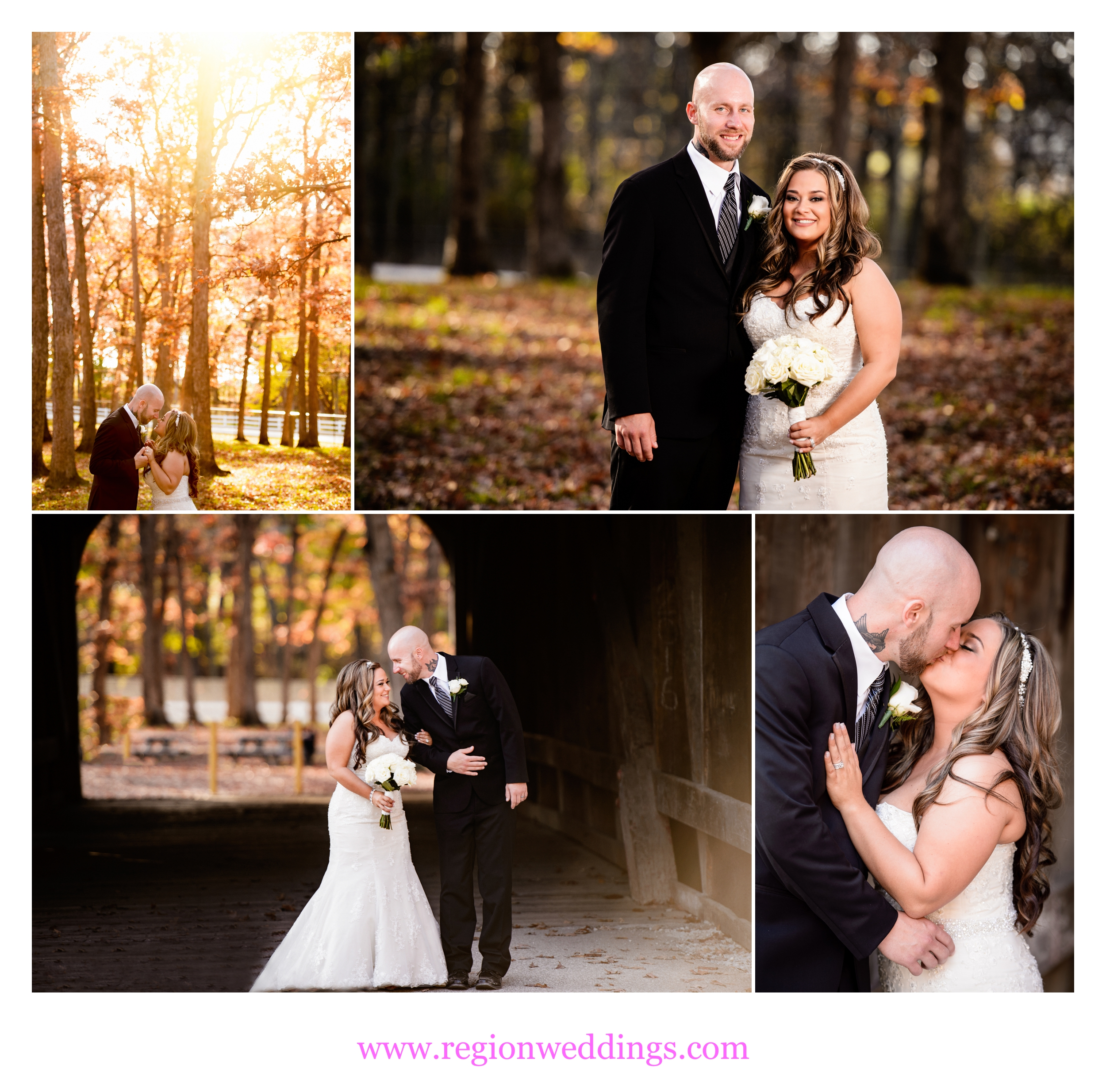 Romantic Fall wedding photos at Lake County Fairgrounds in Crown Point, Indiana.