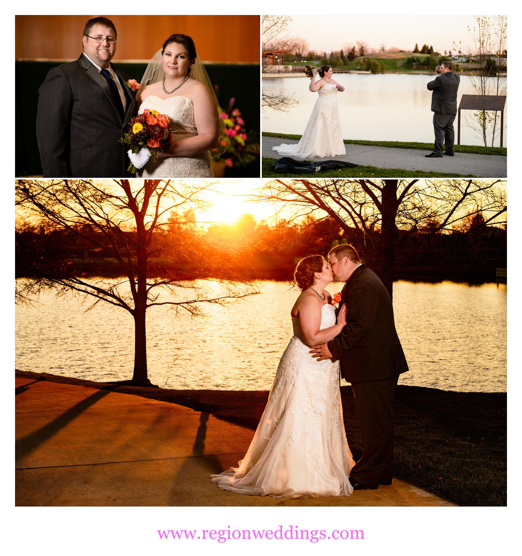 Sunset wedding photos at Centennial Park.