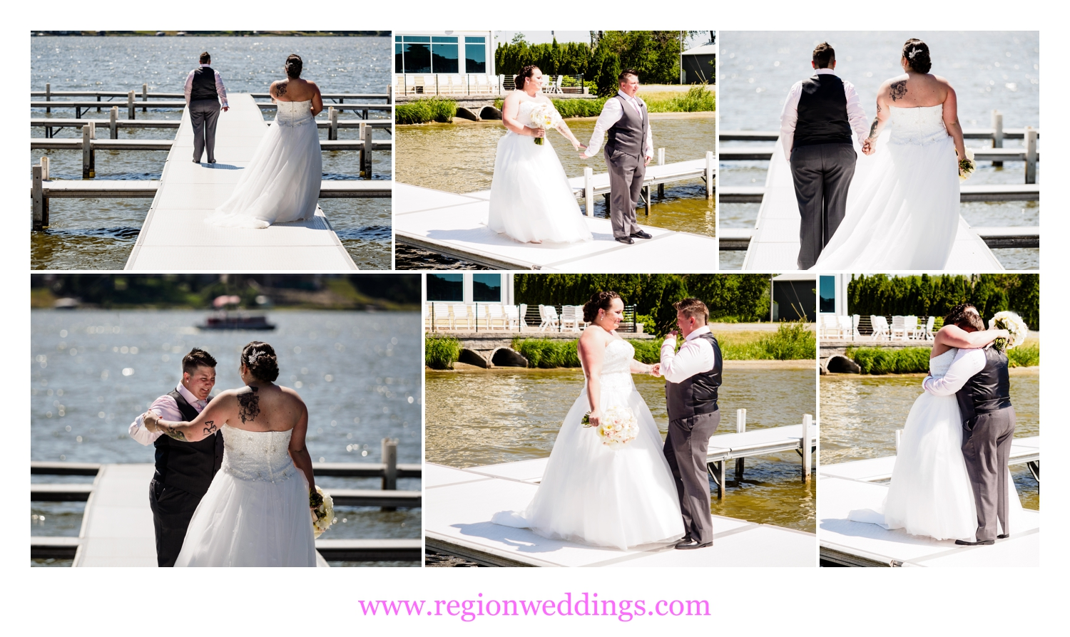 First look for the soon to be Mrs. and Mrs. on the pier of Lighthouse Restaurant in Cedar Lake, Indiana.