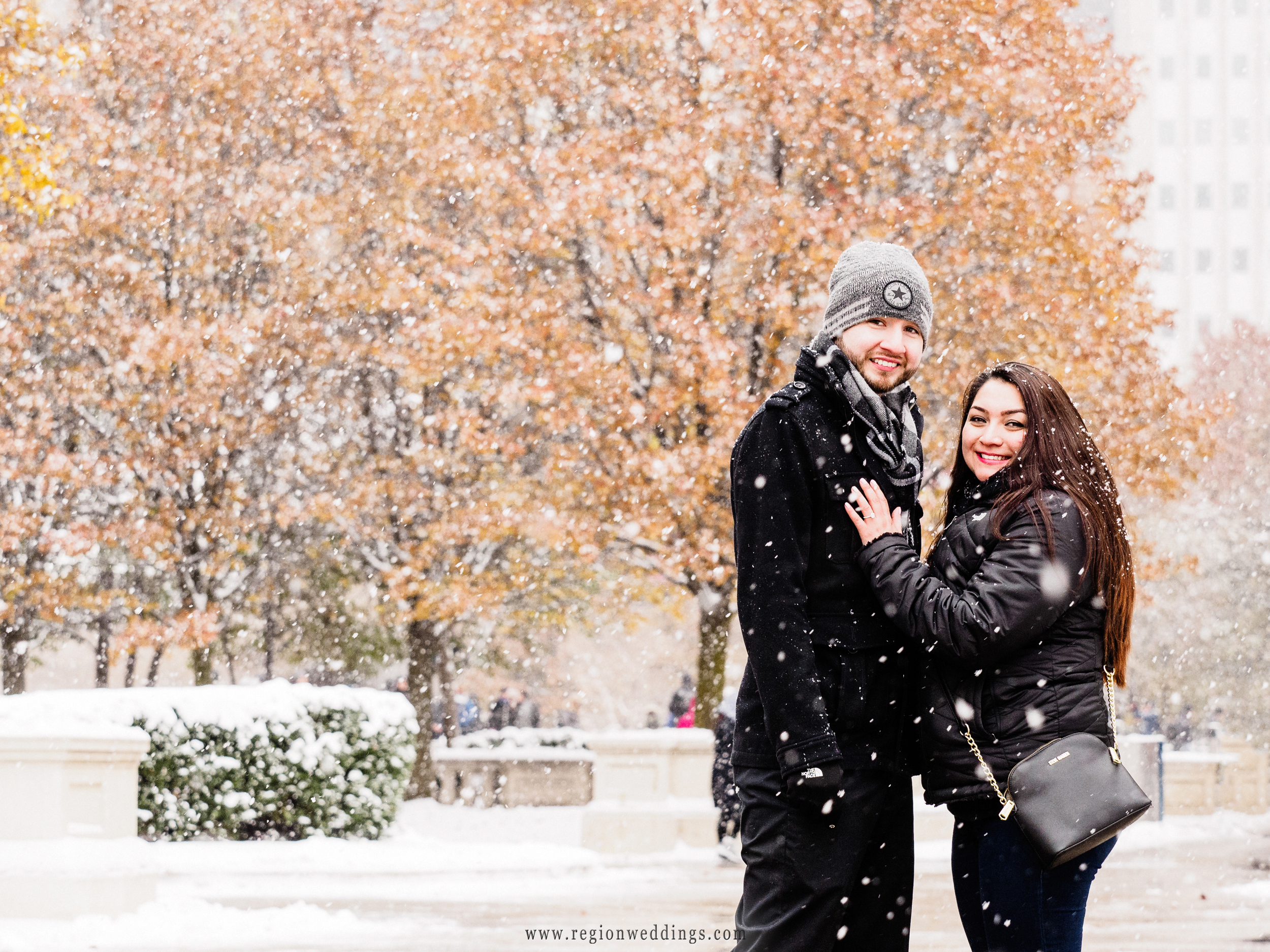 Winter engagement photo in downtown Chicago.