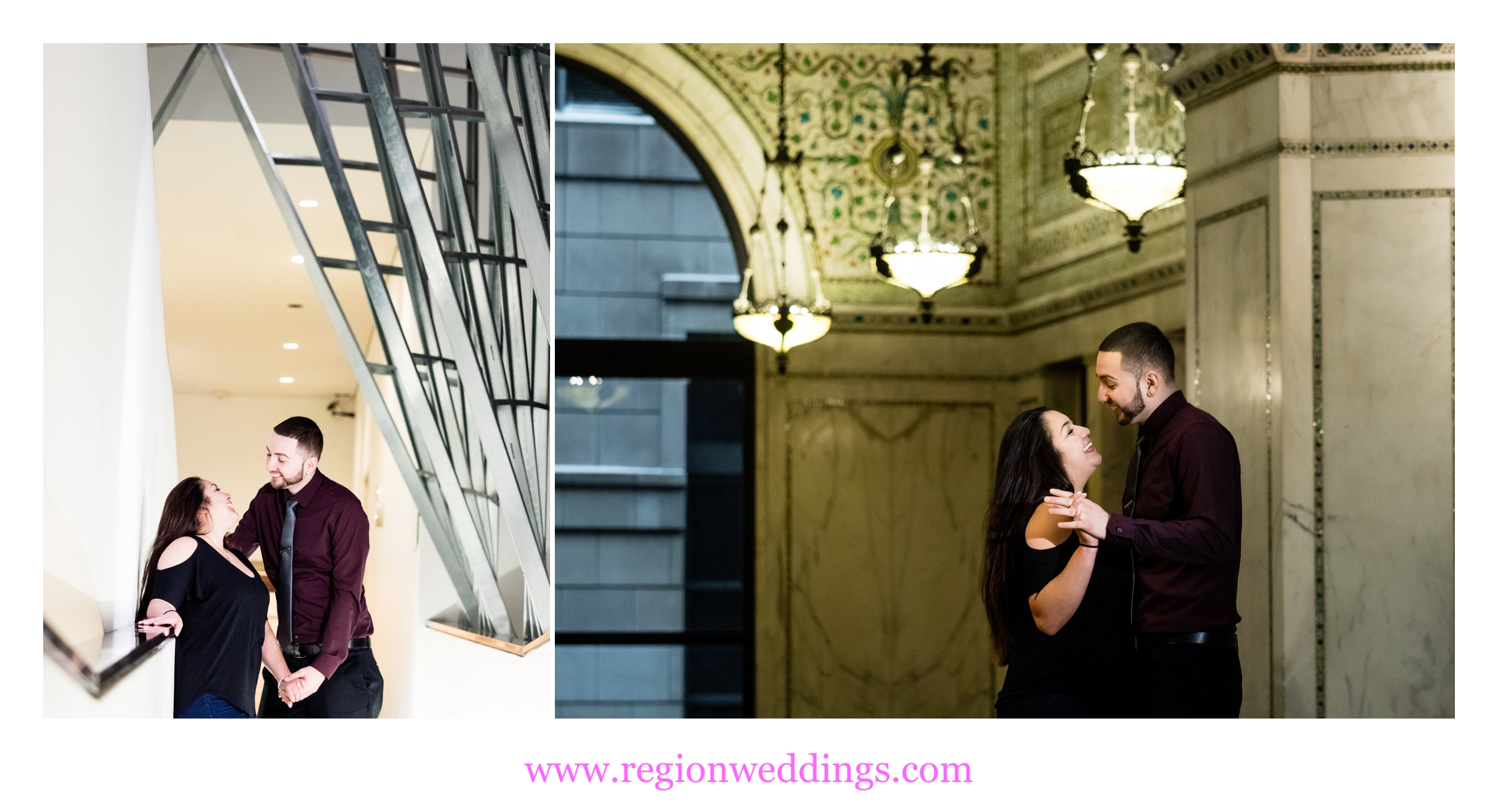 A young couple playfully dances at The Chicago Cultural Center.