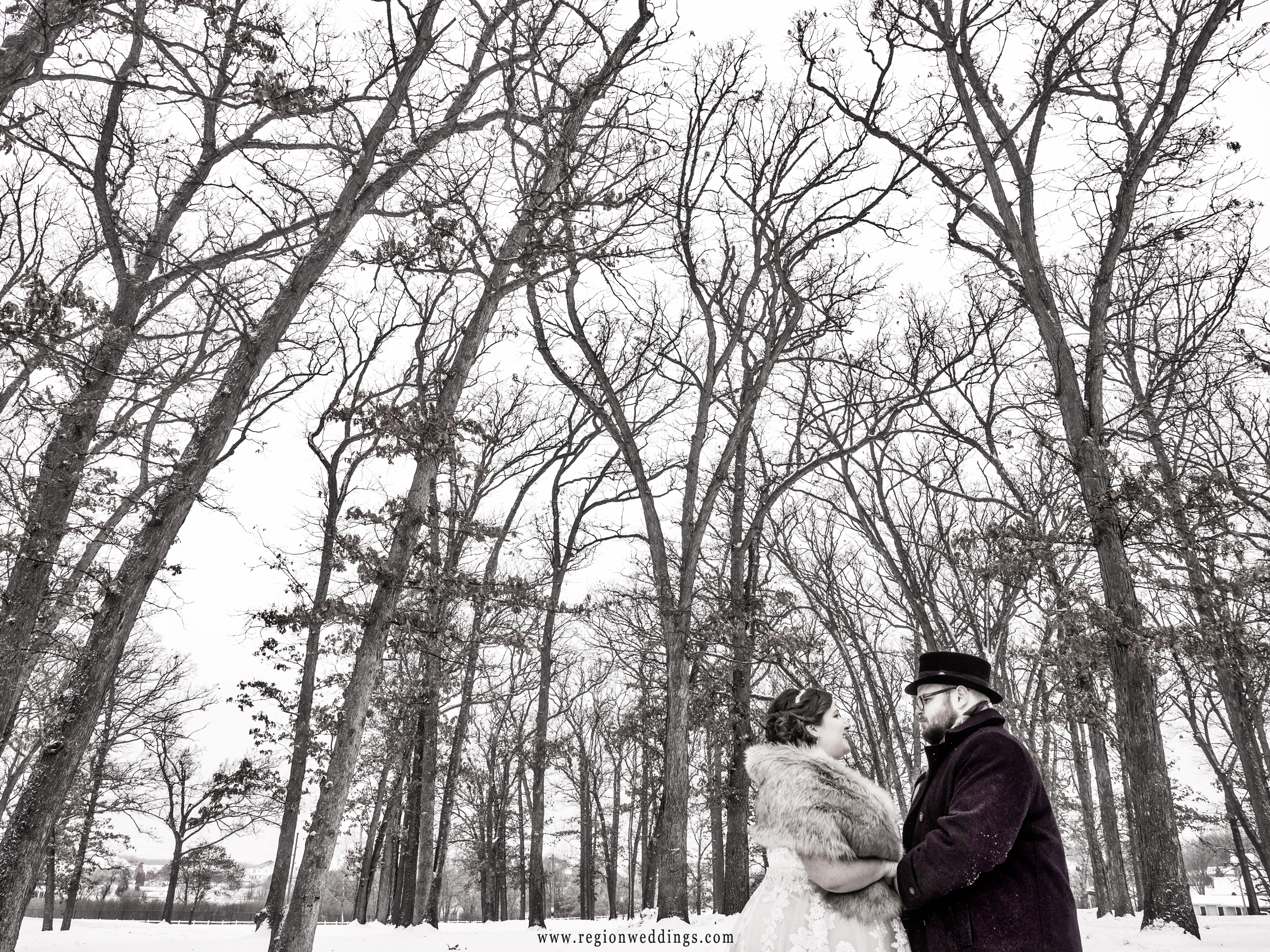 Bride and groom at Lake County Fairgrounds among snow covered trees.