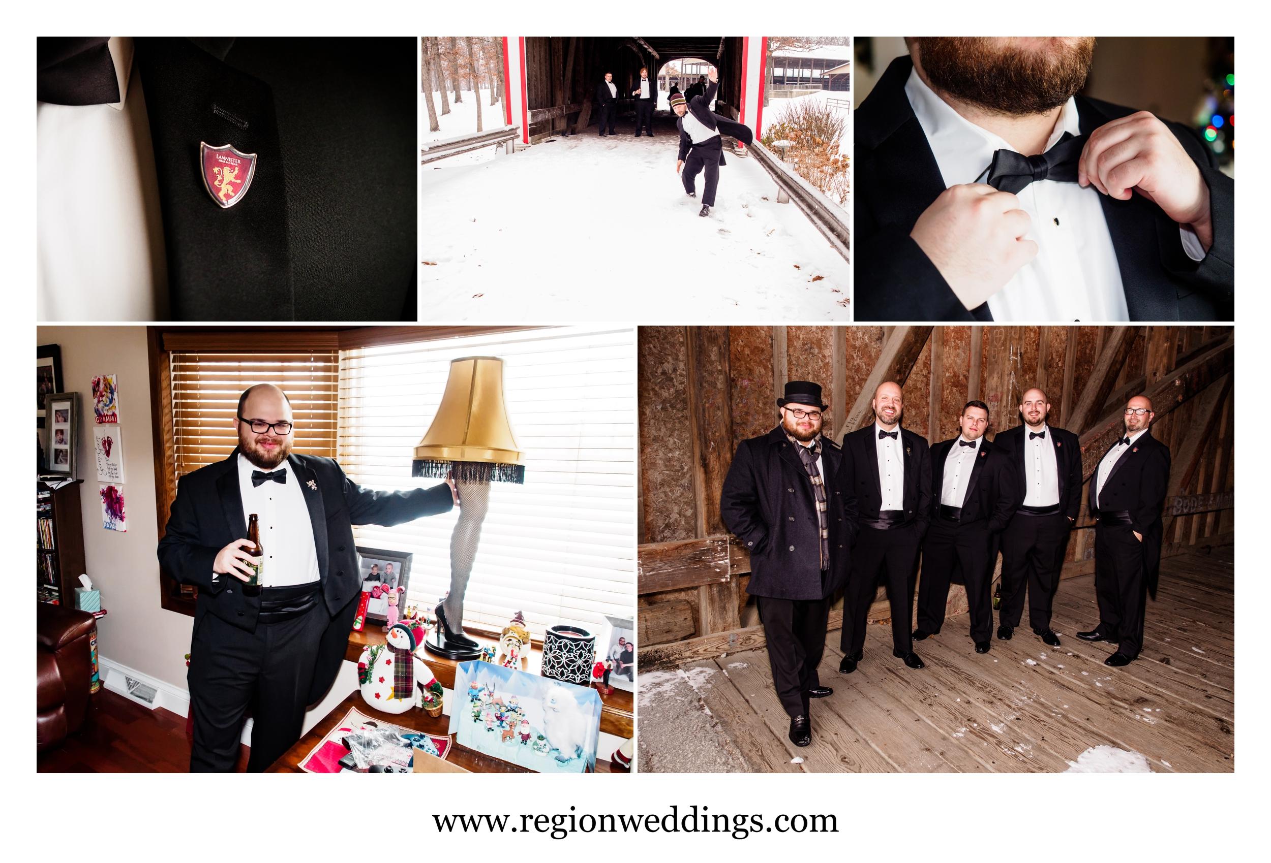 Groomsmen wedding prep at House Lannister.