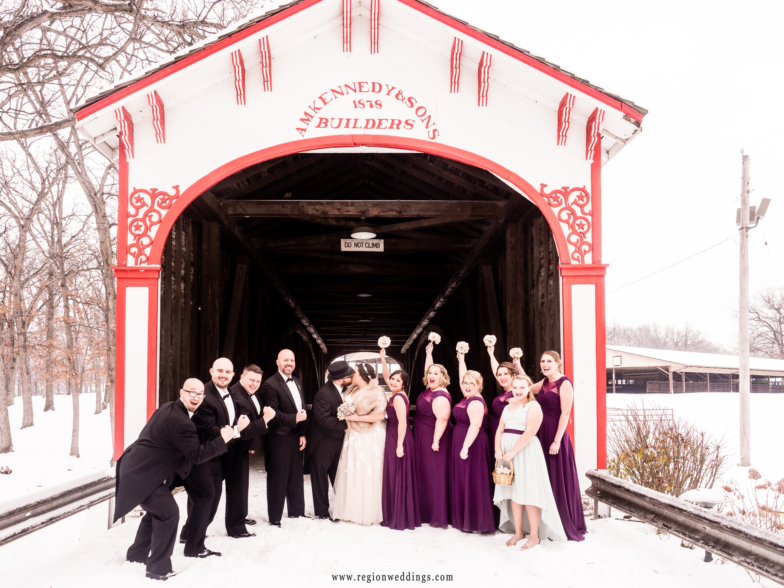 Wedding party group photo in the snow.