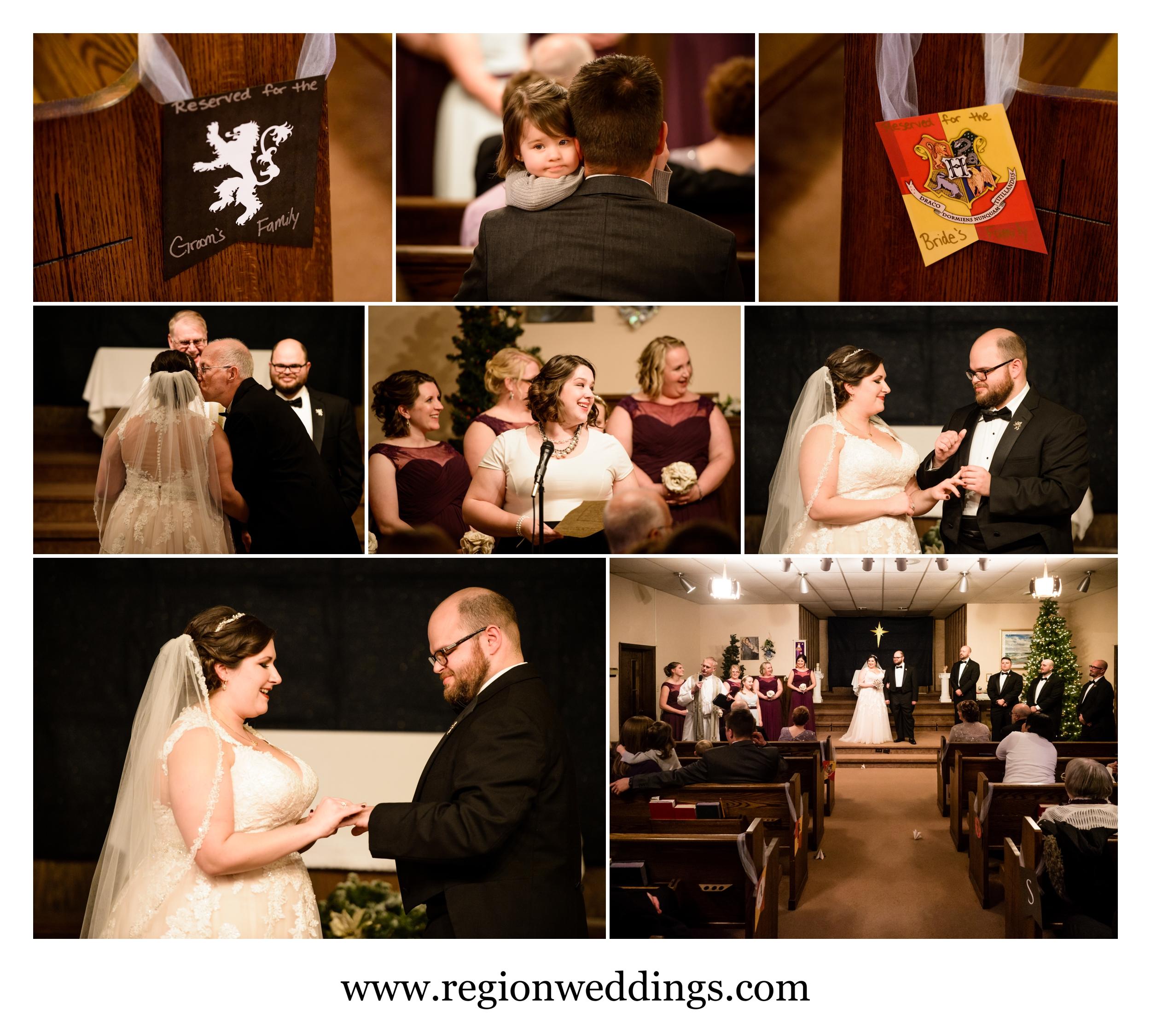 December wedding ceremony at Free Spirit Church in Crown Point, Indiana.