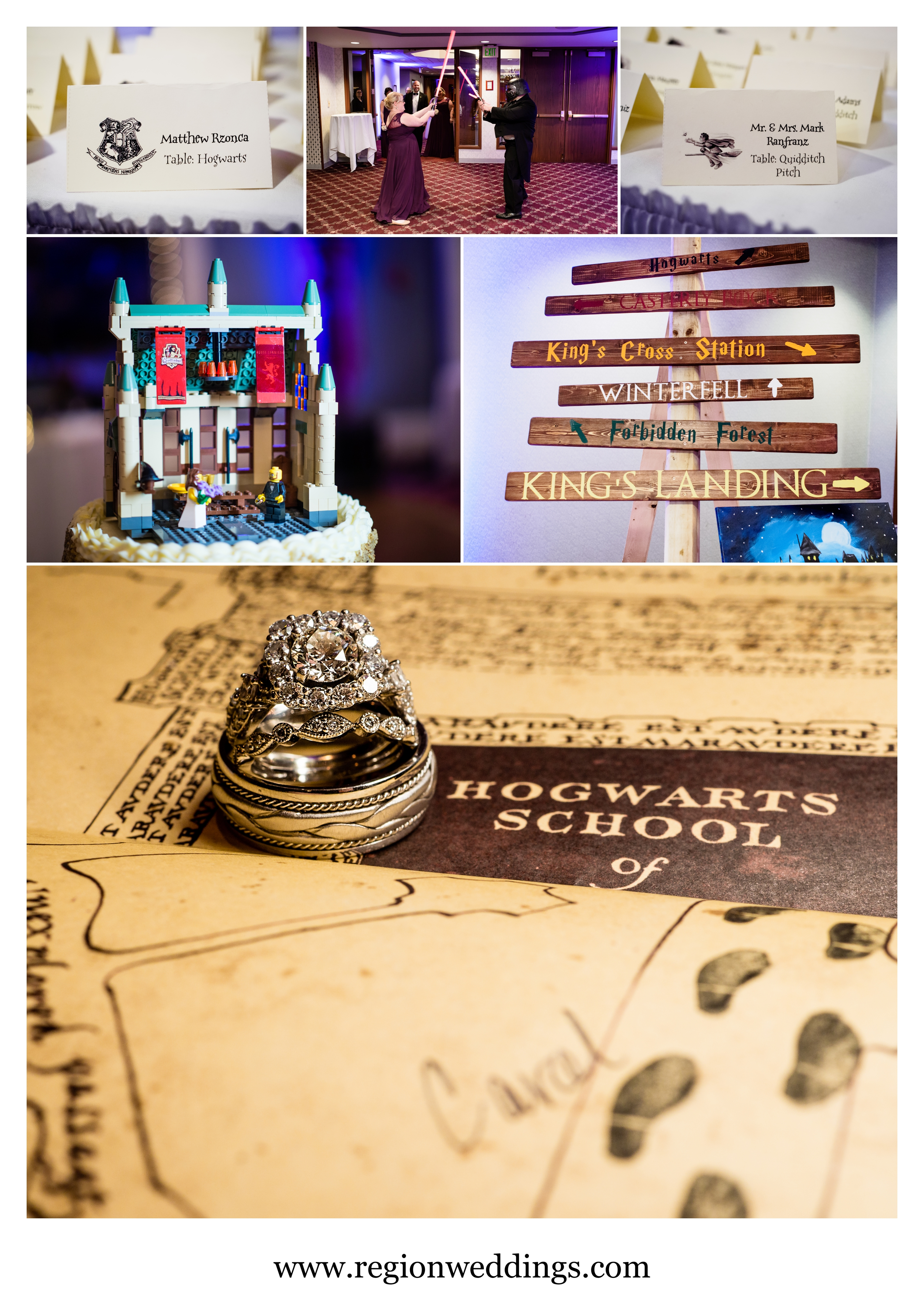 Harry Potter wedding reception decorations.