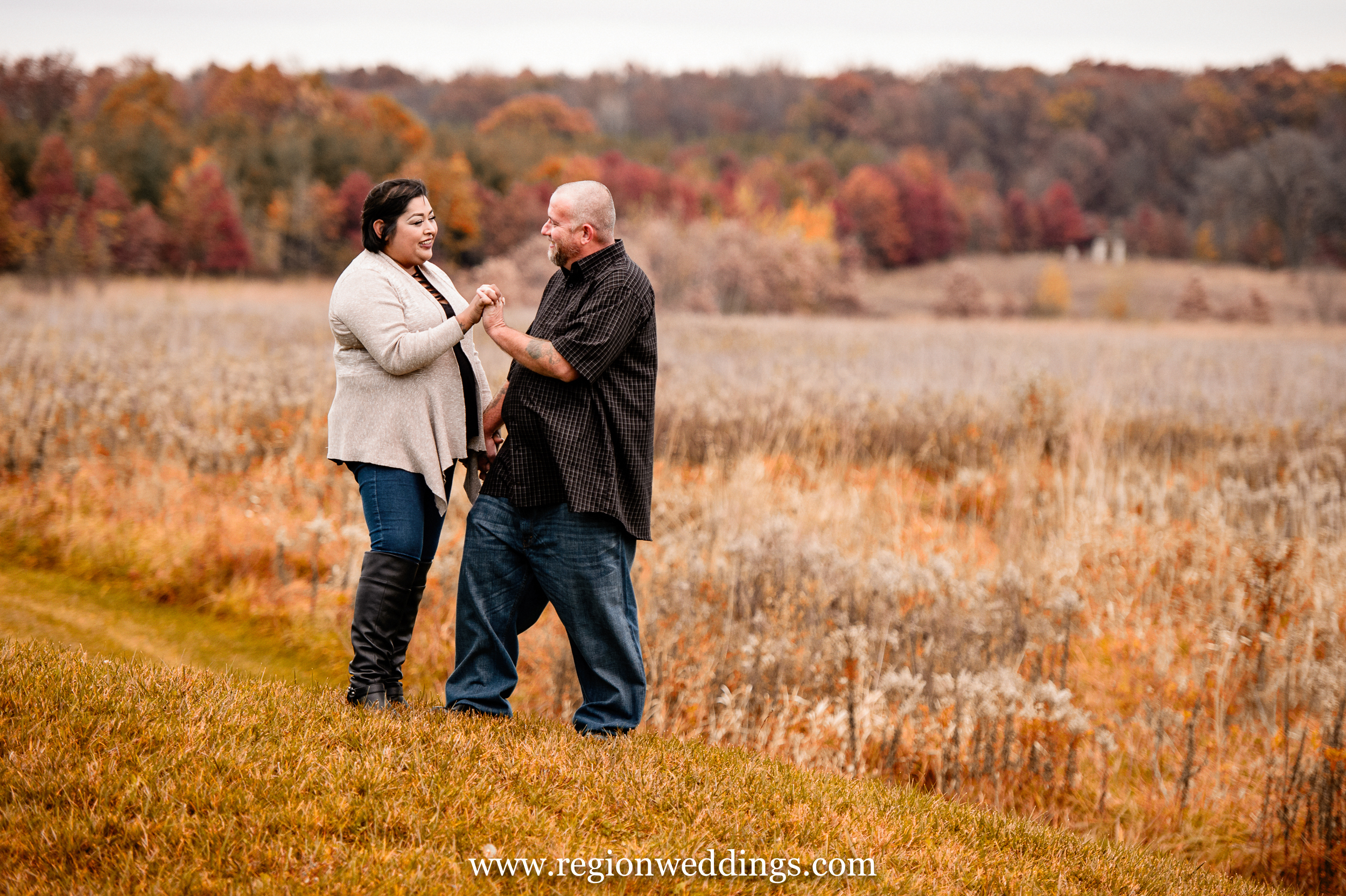 Fall engagement session at Taltree Arboretum.