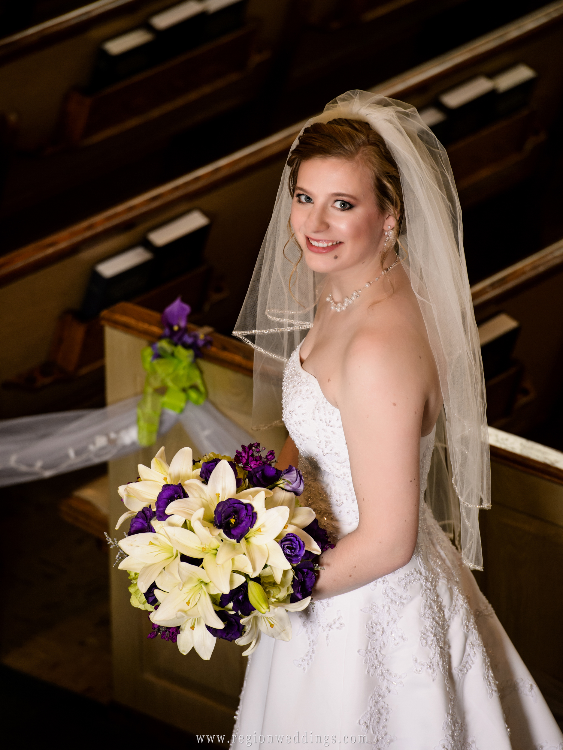 The bride on her big day at church.