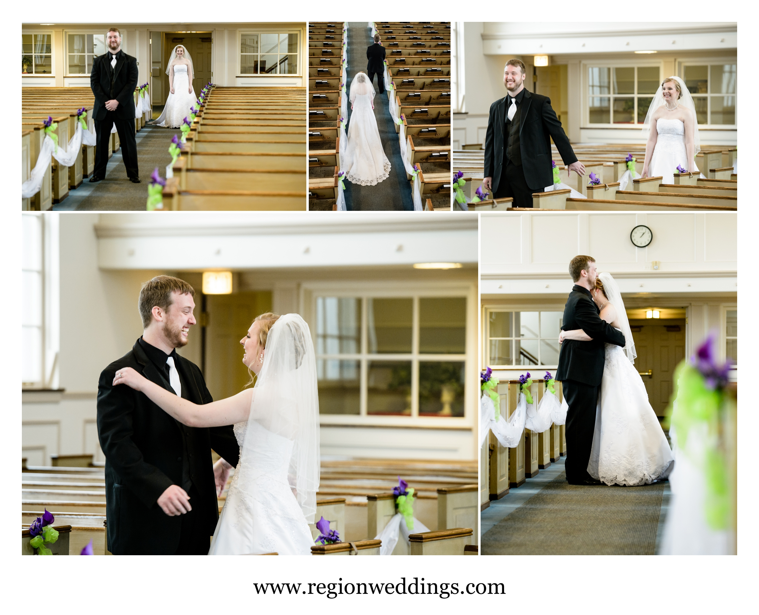 First look / reveal for the bride and groom at Oak Glen United Reformed Church.