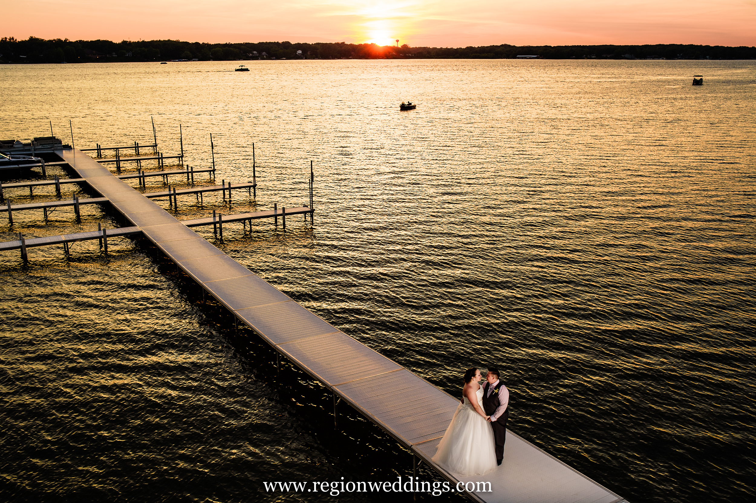 Wedding photo on the pier at Lighthouse Restaurant.