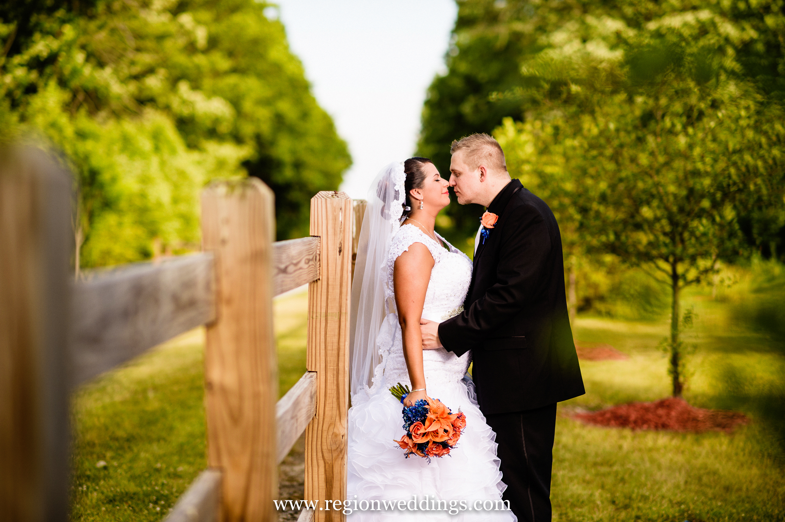 Bride and groom outside of The Patrician in Schererville, Indiana.