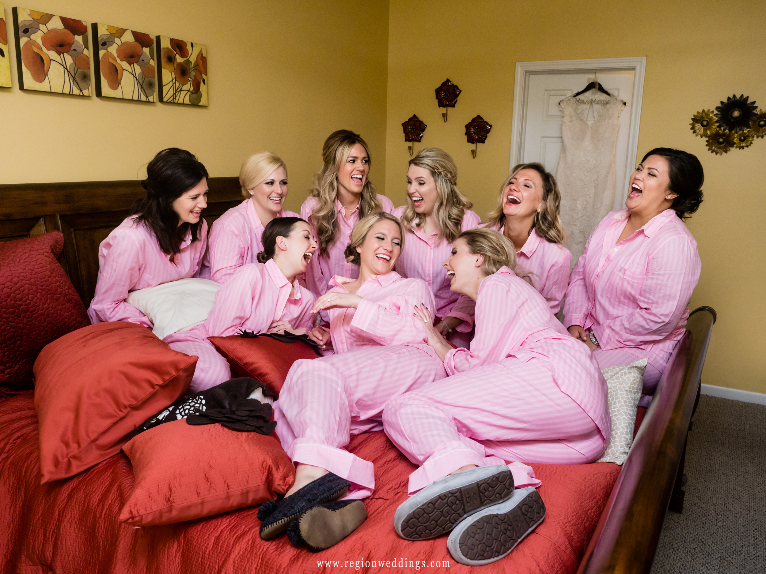 The bridesmaids have a pajama party on the morning of the wedding.