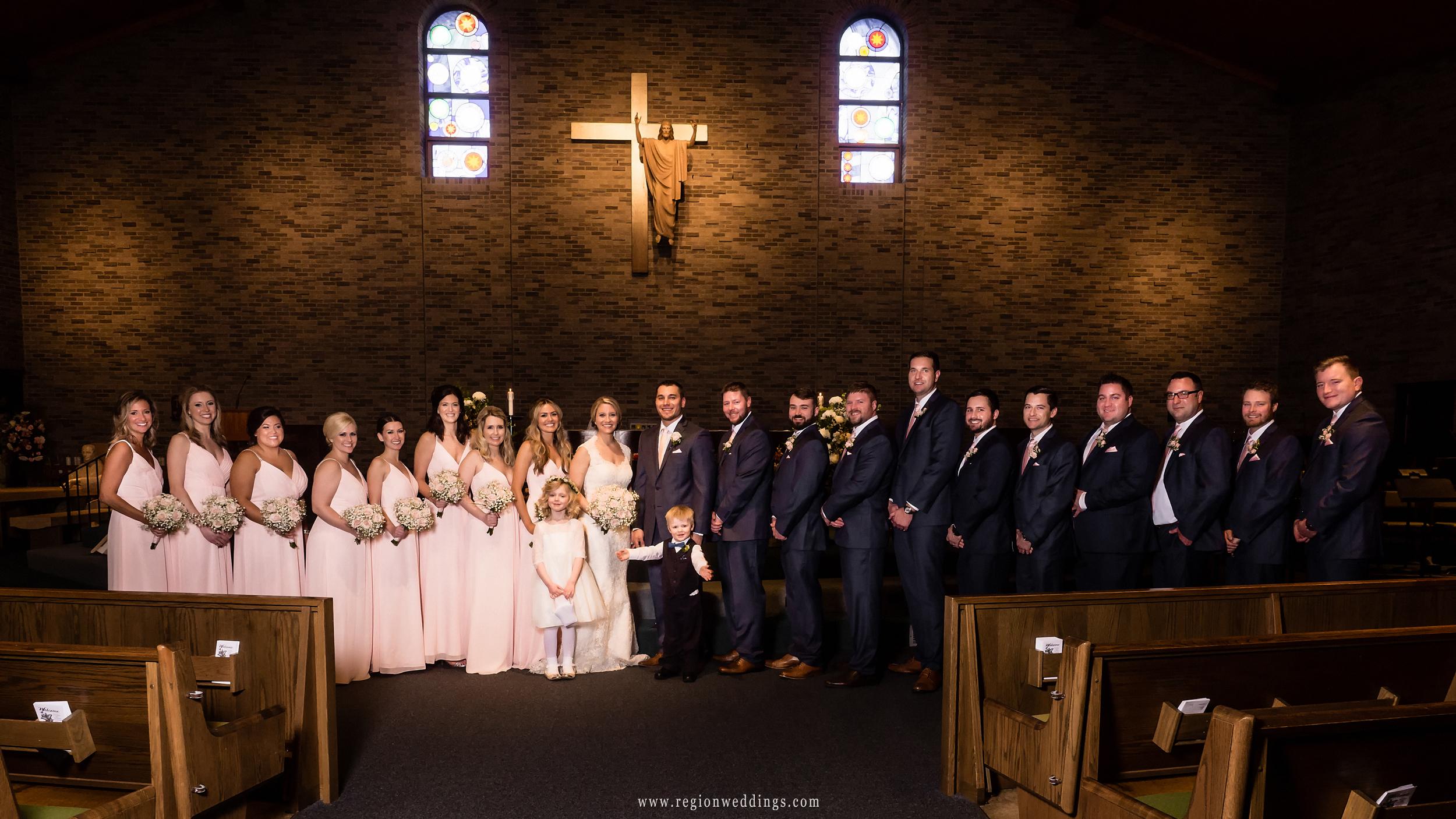 Wedding party photo at St. Maria Goretti.