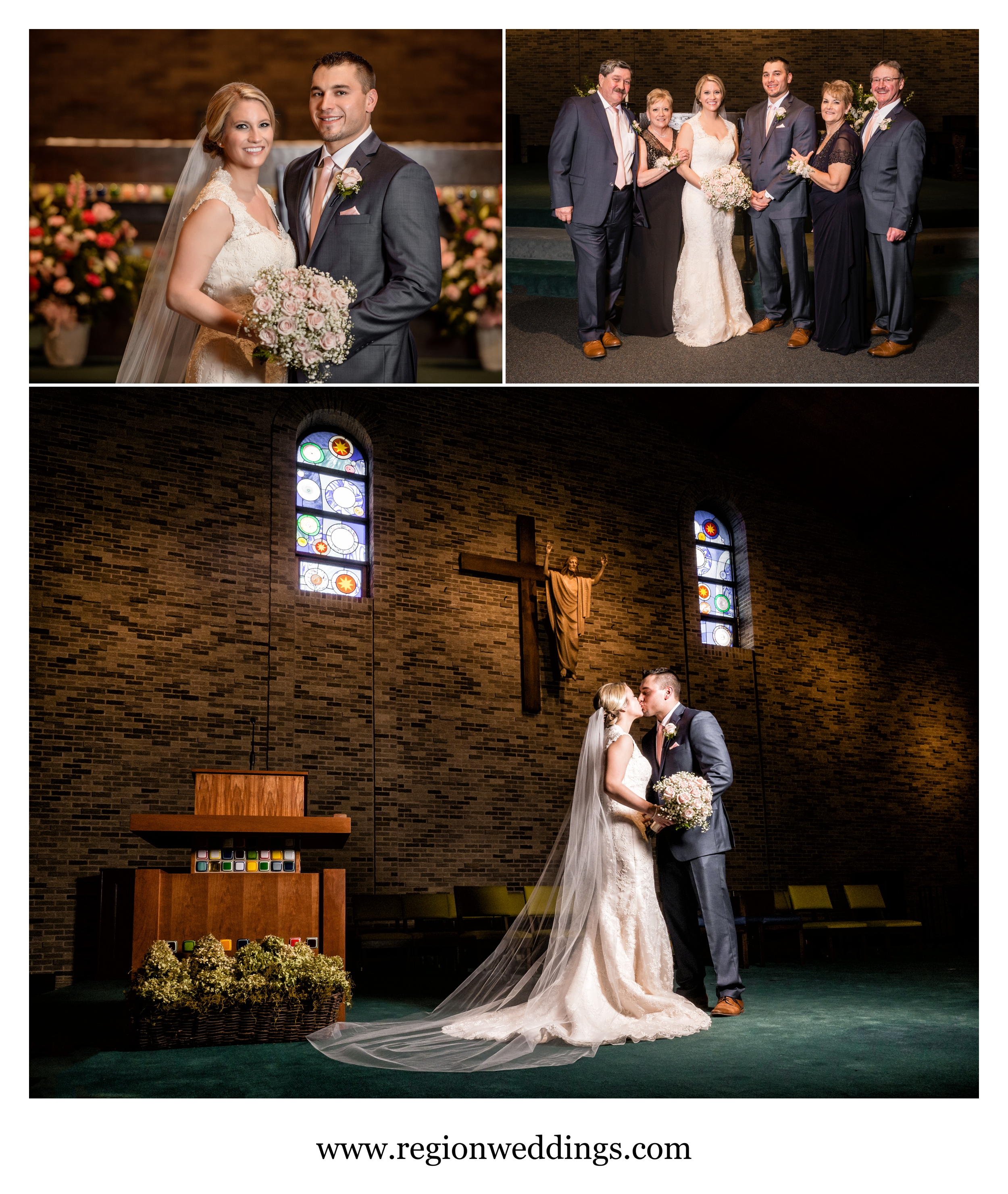 Parents and couples photos at St. Maria Goretti Church in Dyer, Indiana.