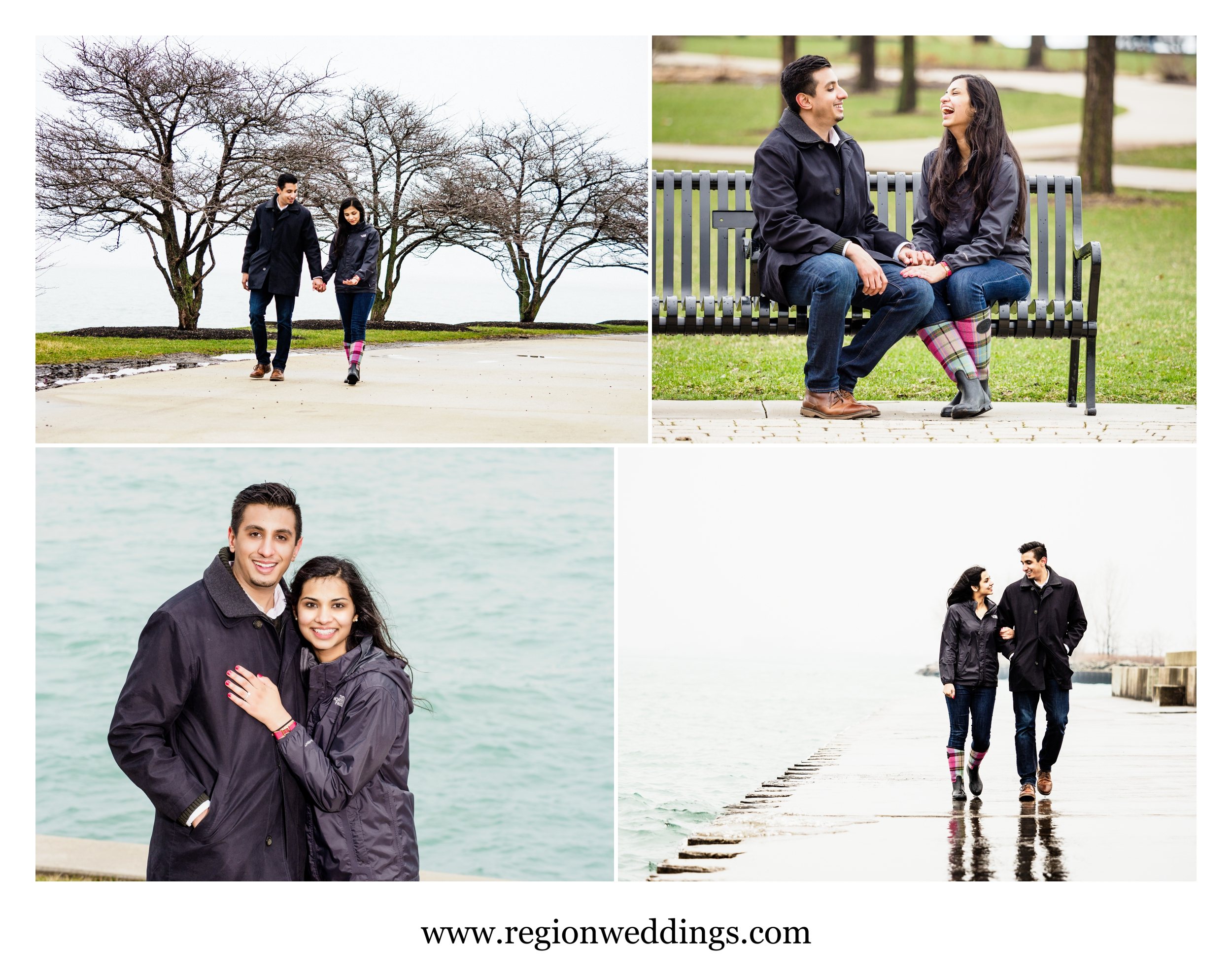 Engagement session in the rain in downtown Chicago.