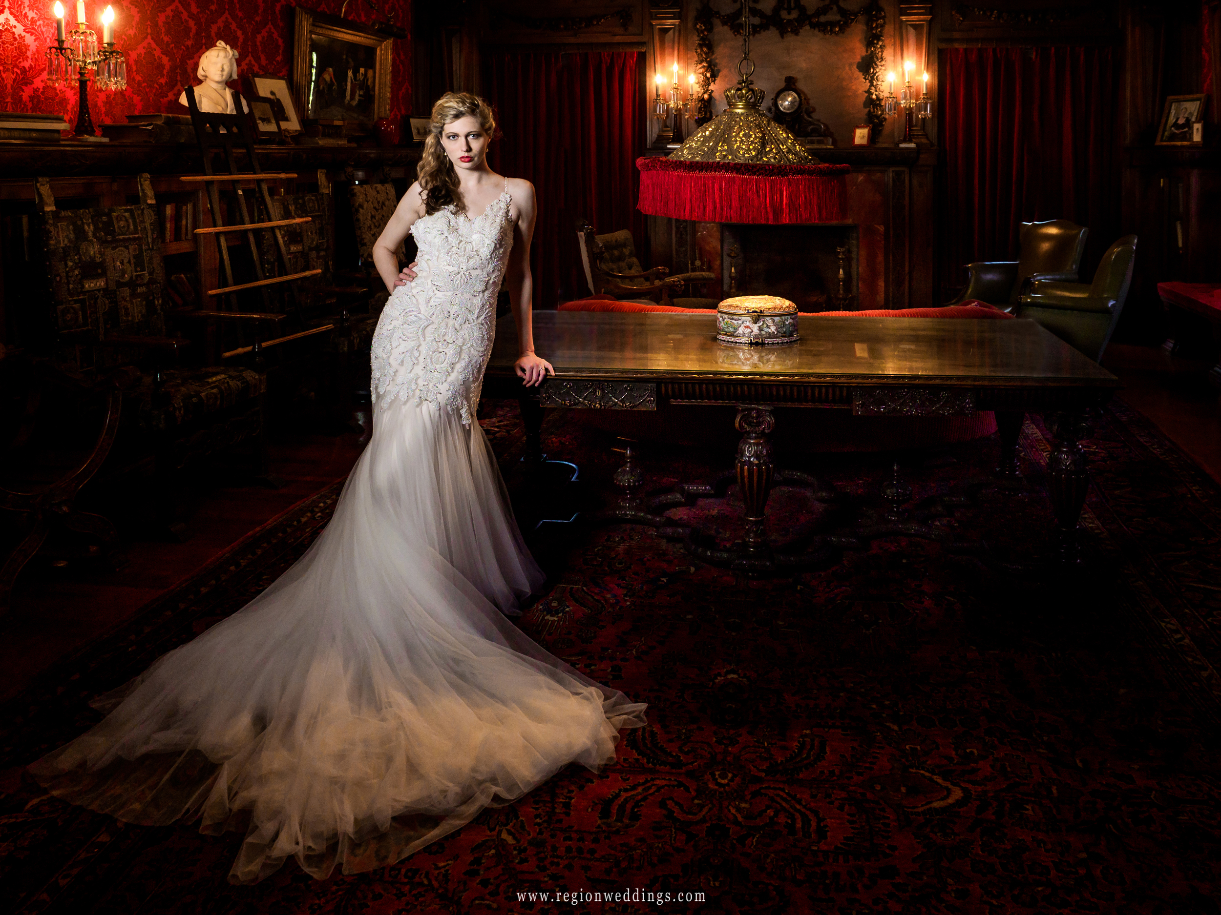 Beautiful bride in the lounging room at Barker Mansion in Michigan City.