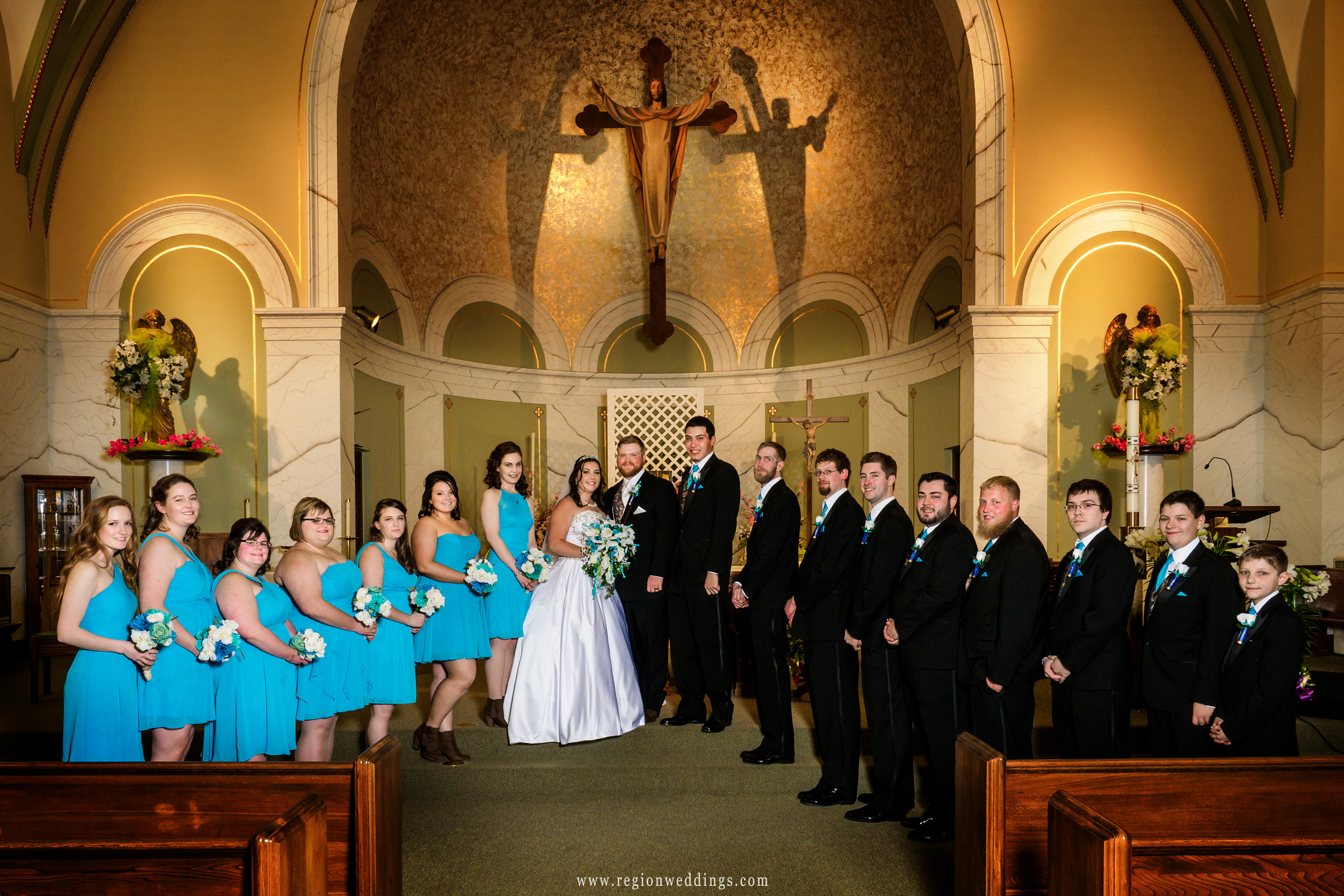 Wedding party at Holy Name Catholic Church.