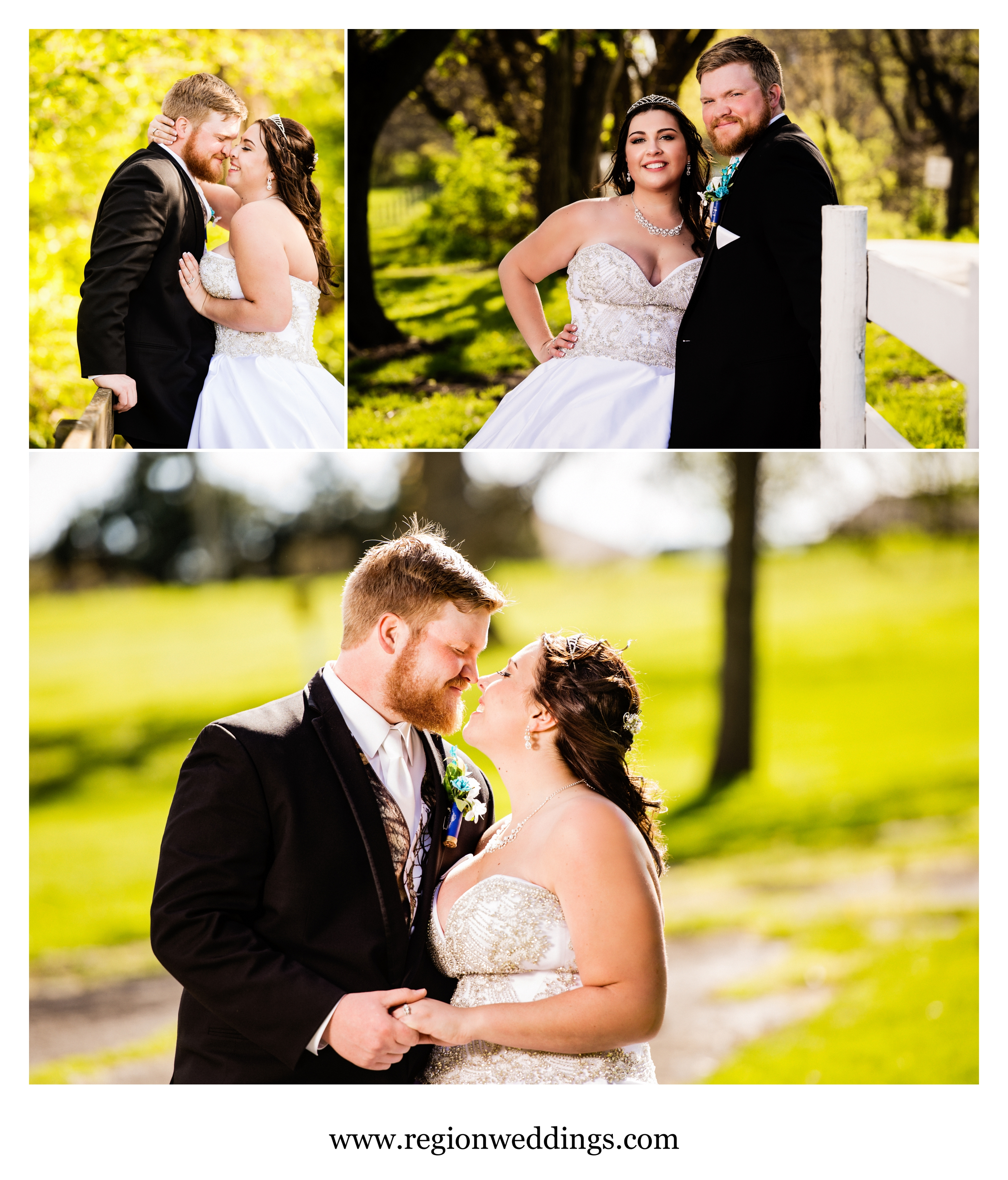 Wedding photos on the farm of Buckley Homestead in Lowell, Indiana.
