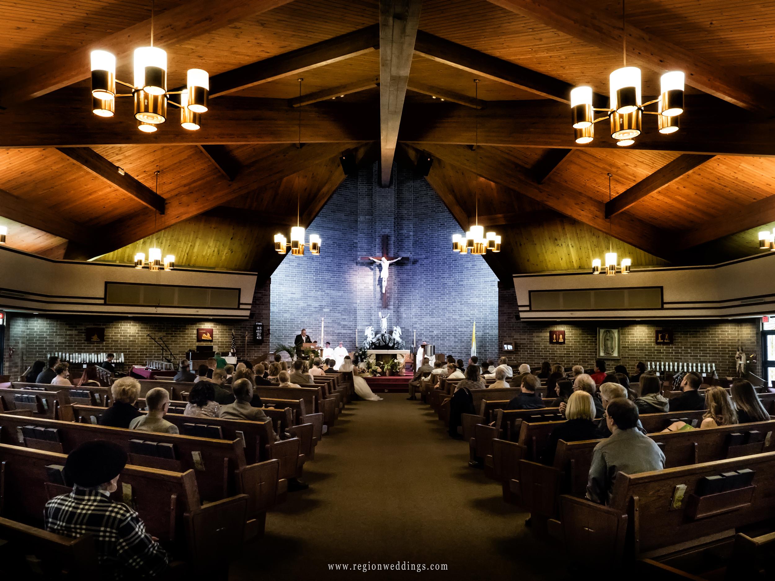 Wedding ceremony at St. James the Less Catholic Church