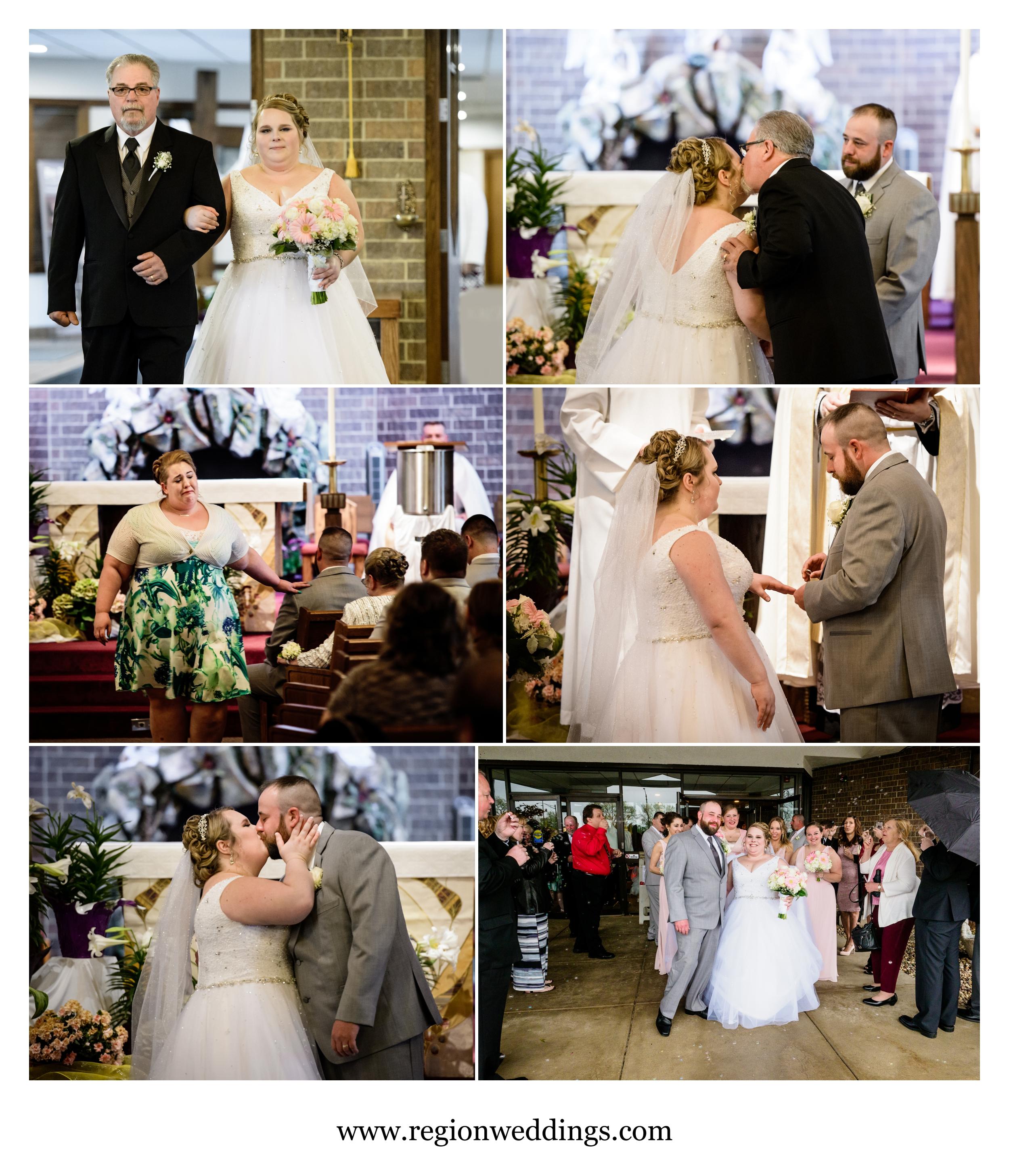 Catholic wedding ceremony at St. James in Highland, Indiana.