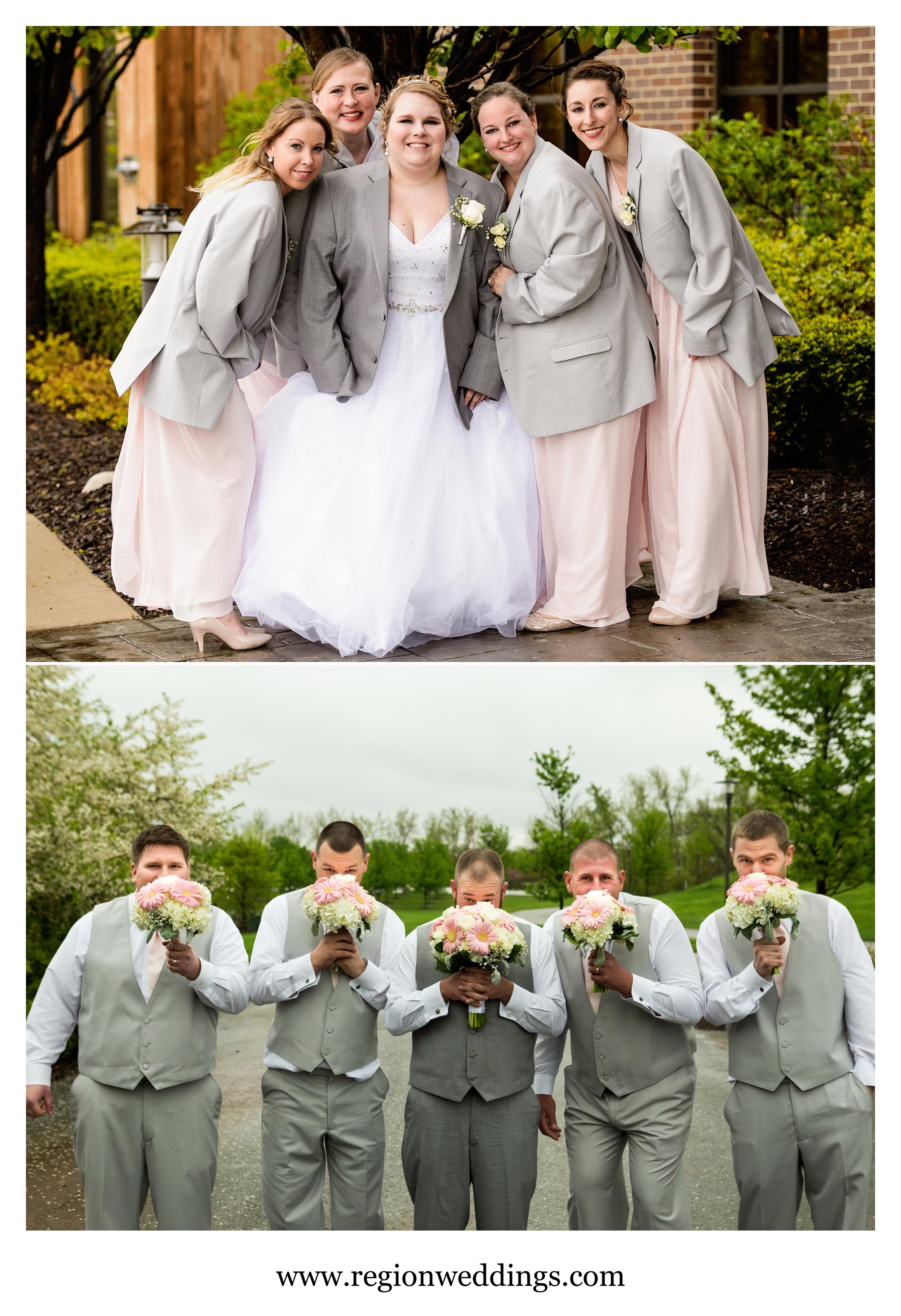 Fun wedding party photos at Centennial Park.