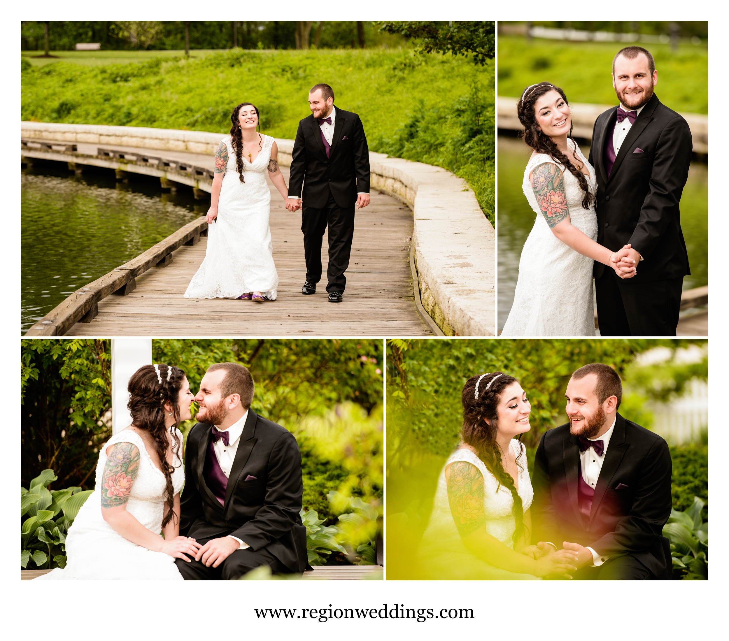 Tender moment for the bride and groom at their Spring wedding.