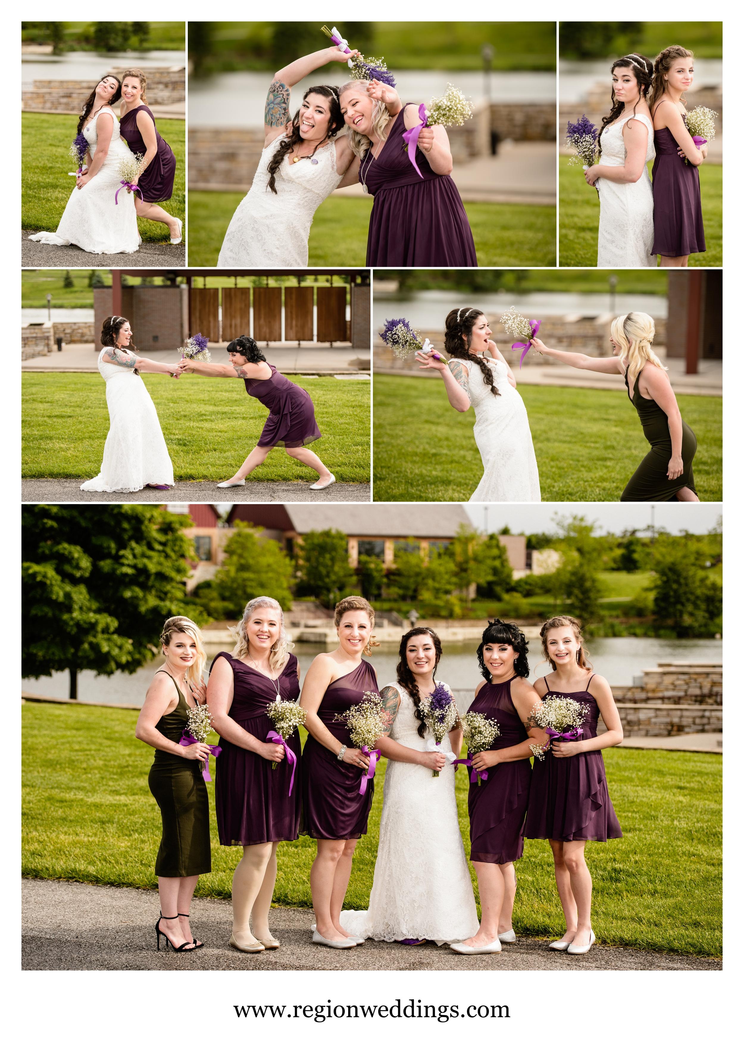 Fun bridesmaids photos at Centennial Park.