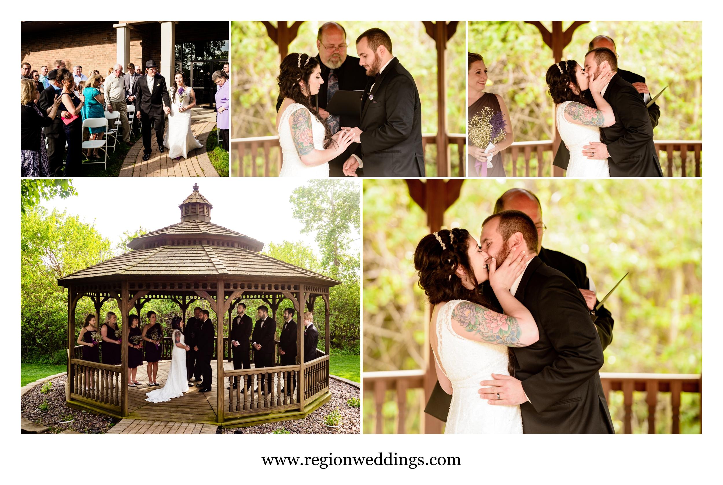 Outdoor wedding ceremony at Villa Cesare.
