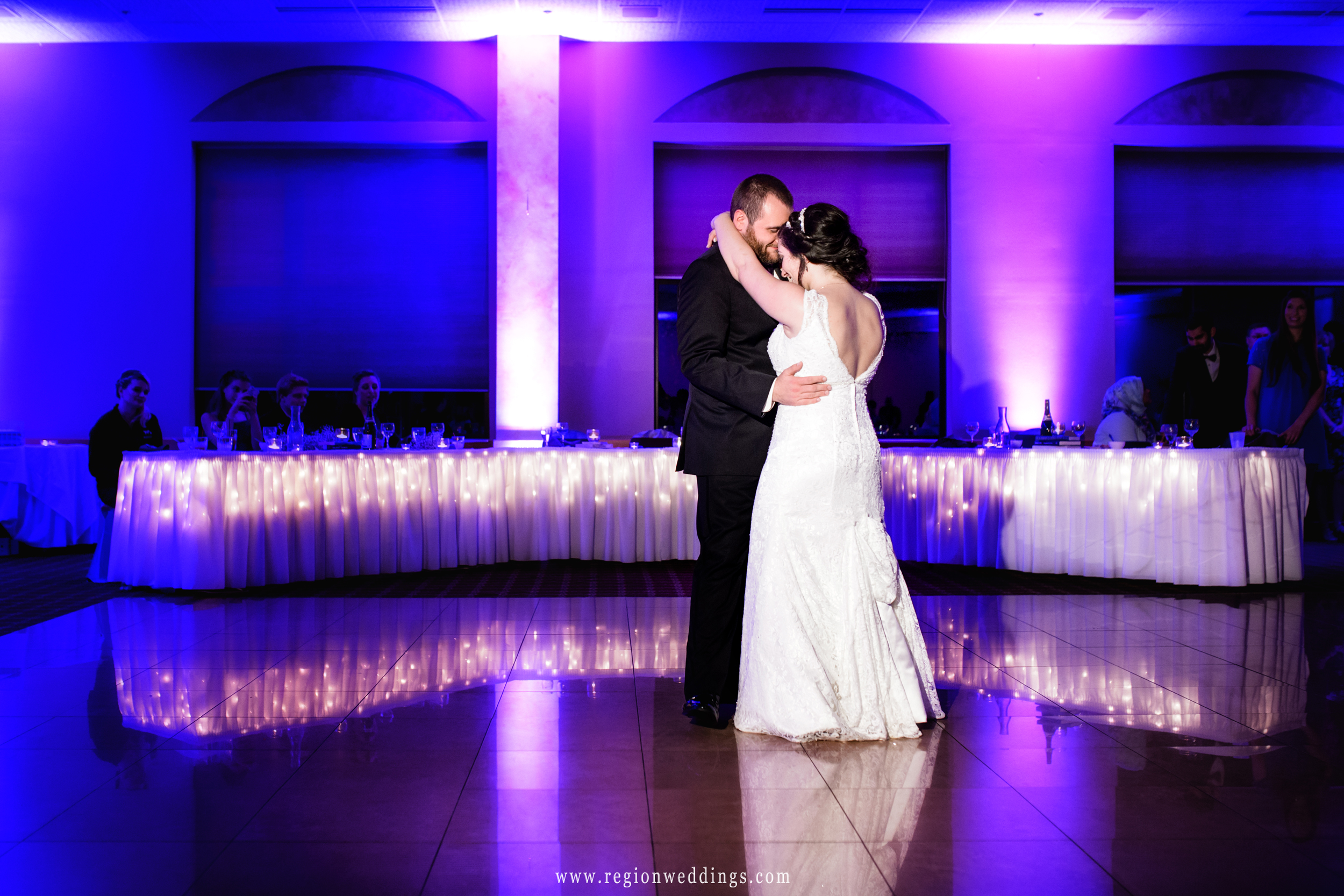 First dance of bride and groom at Villa Cesare in Schererville, Indiana.