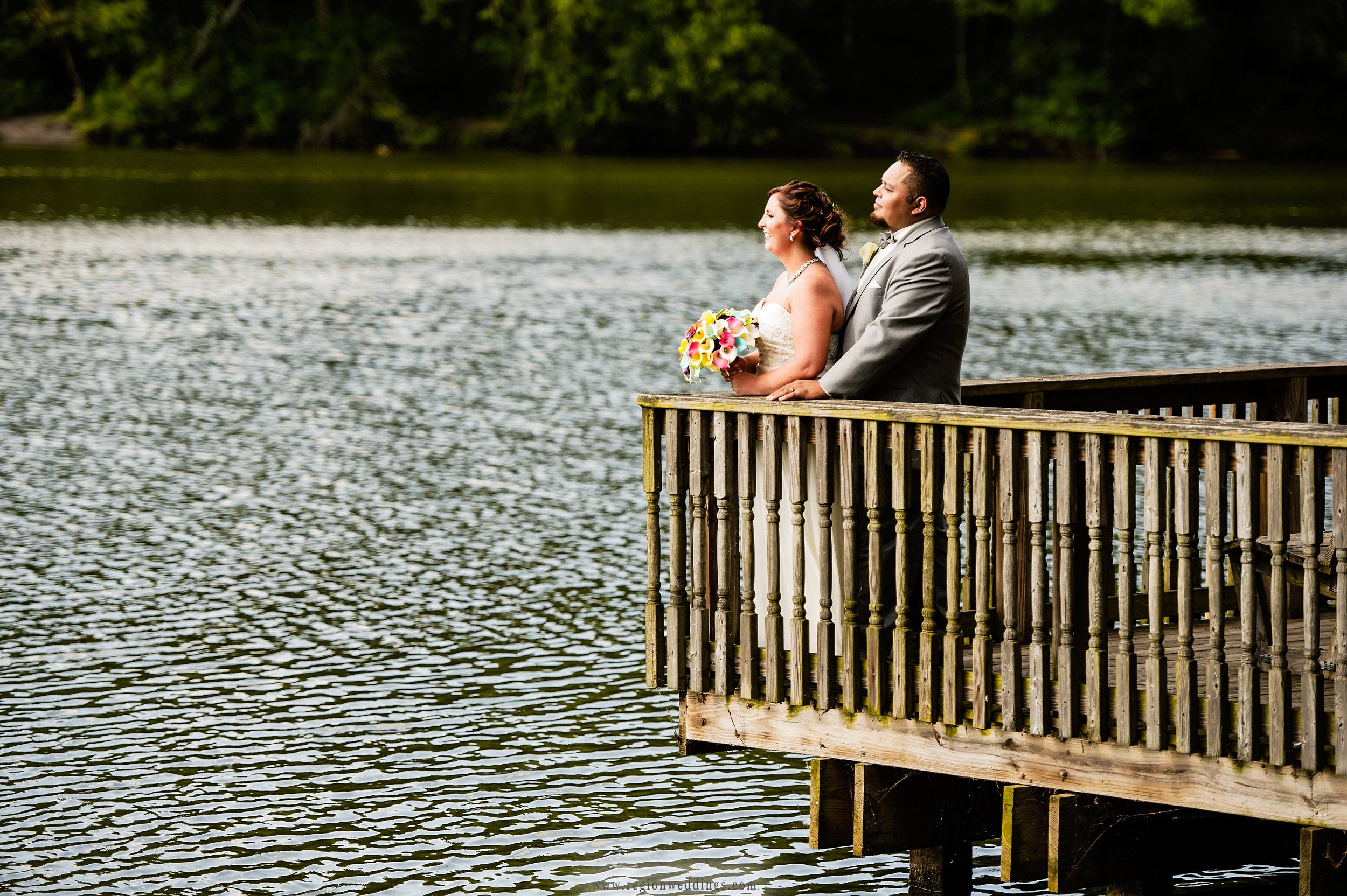 Romantic wedding photo on the pier at Lemon Lake County Park.