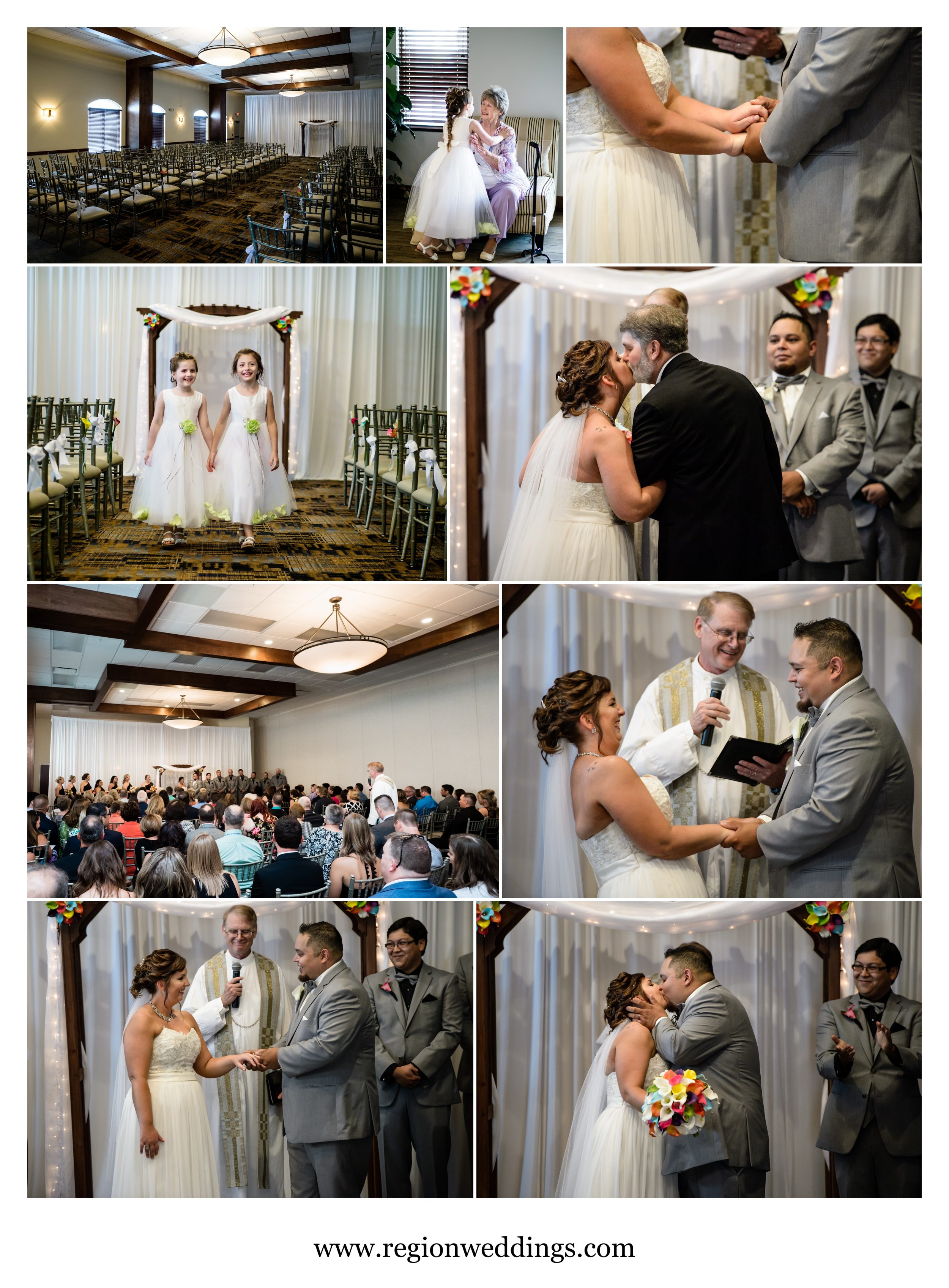 Wedding ceremony at Signature Banquets in Lowell, Indiana.