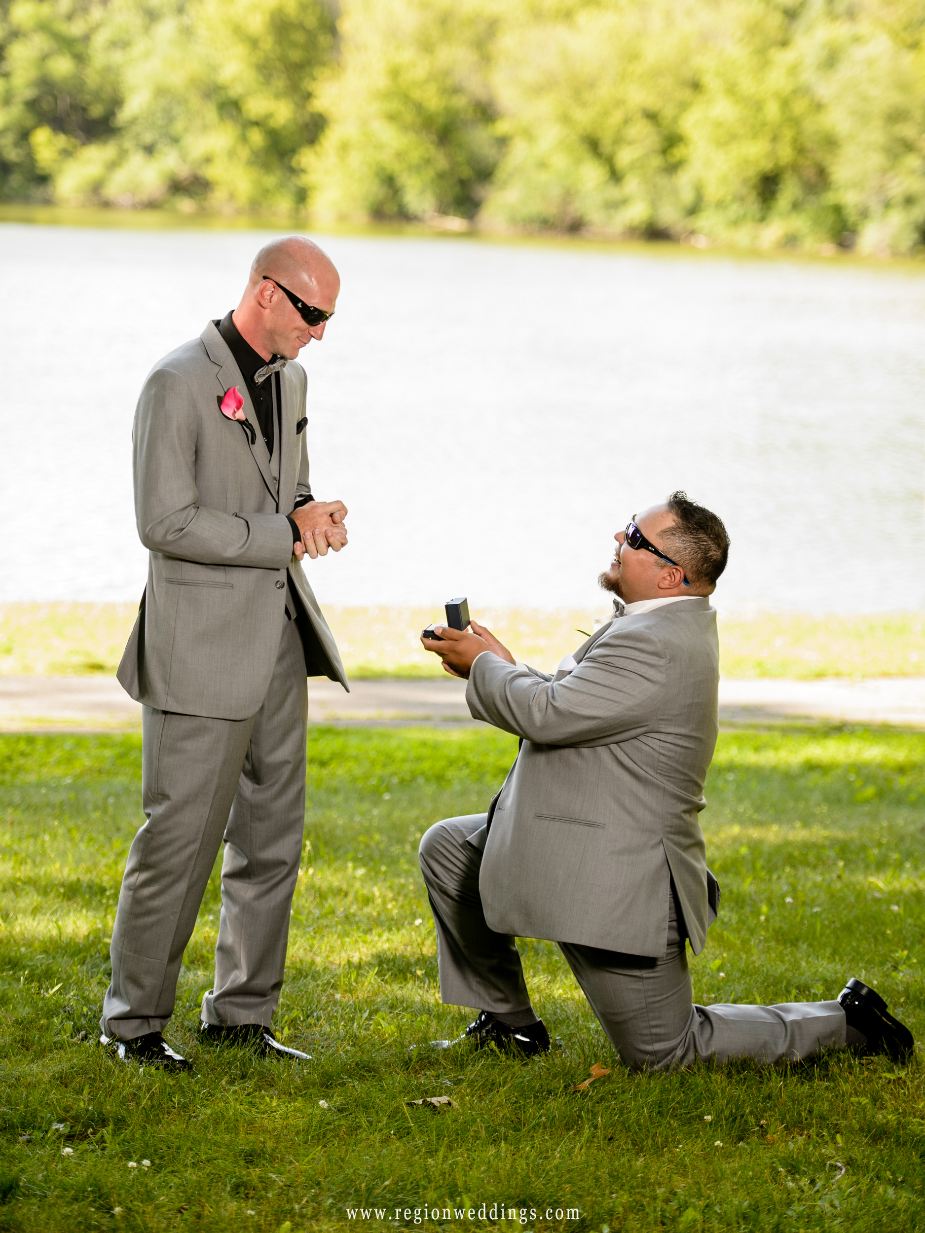 Mock proposal from the groom to his groomsman.