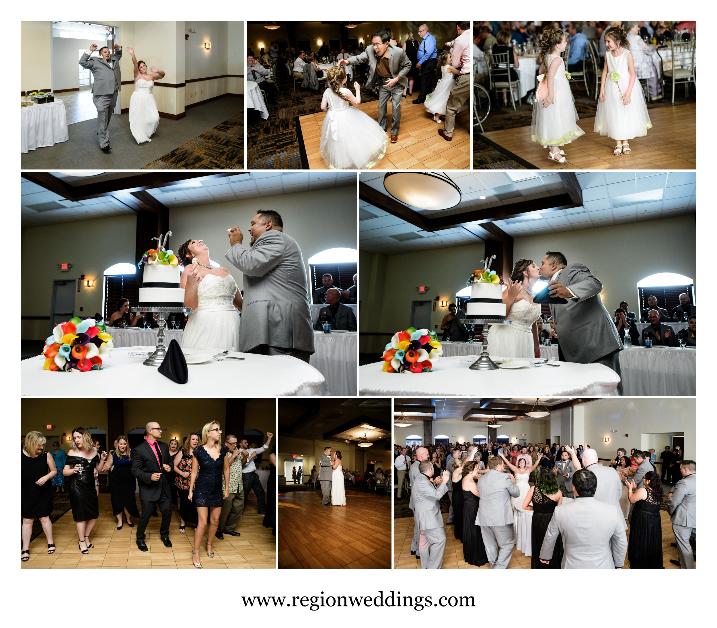 Wedding reception celebration at Signature Banquets in Lowell, Indiana.