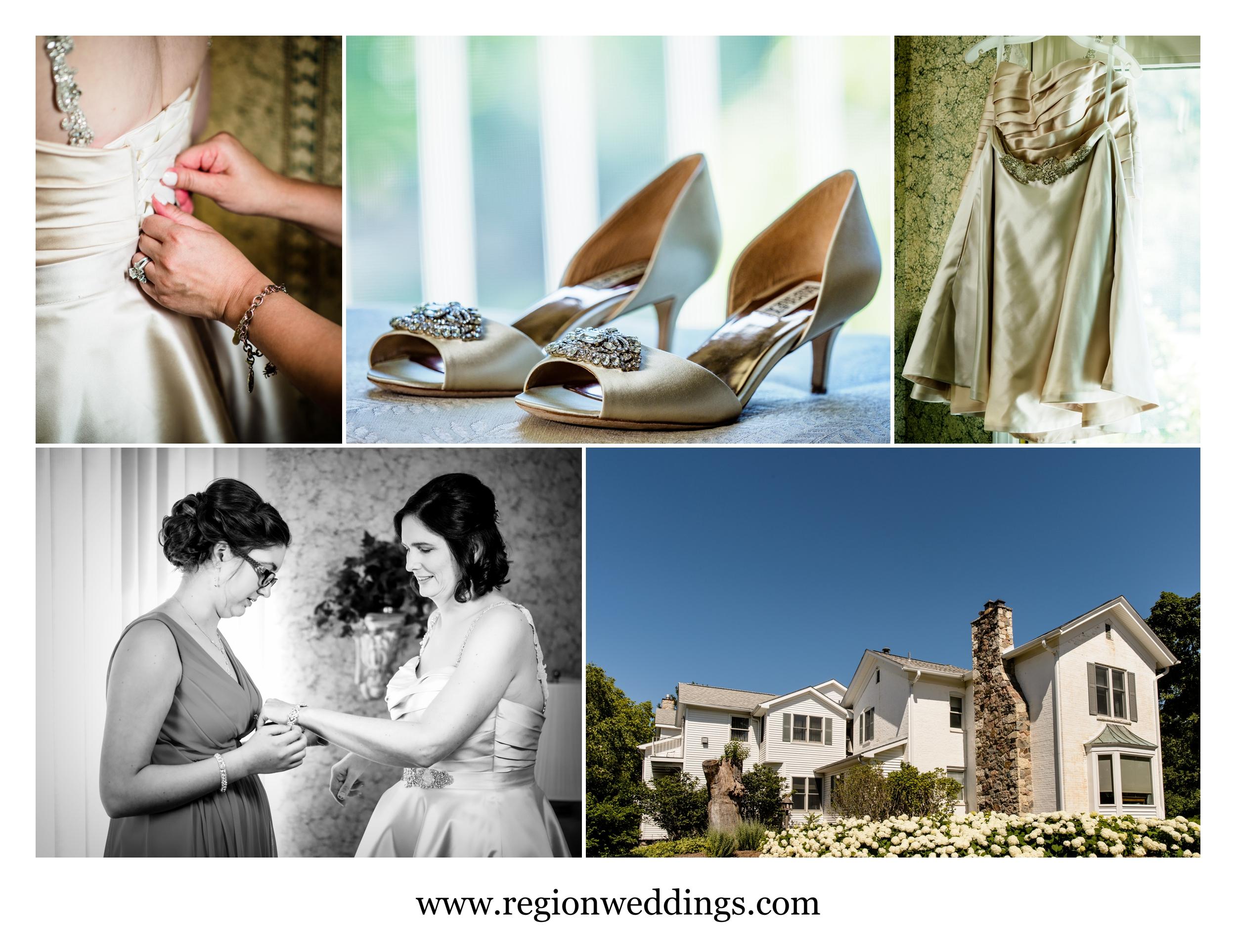 Bridal prep at The Inn At Aberdeen in Valparaiso, Indiana.