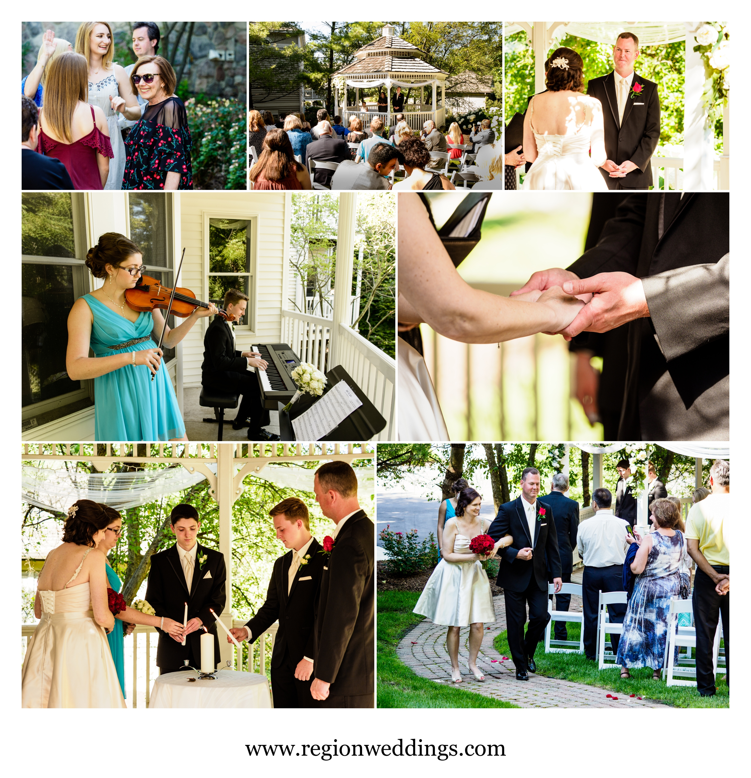 Outdoor wedding ceremony at The Inn At Aberdeen in Valparaiso, Indiana.