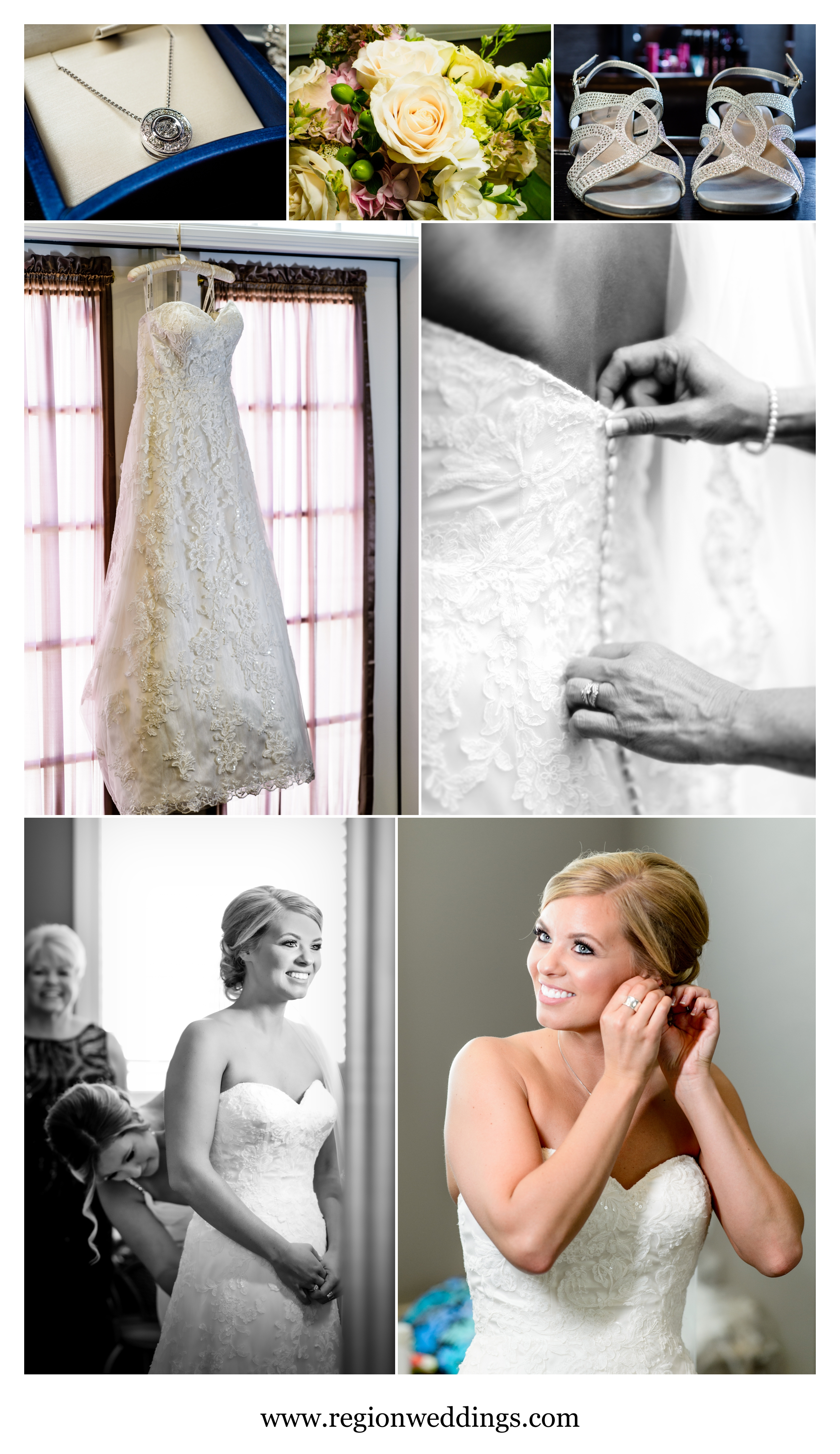 Bridal prep at the bridal suite at Aberdeen Manor in Valparaiso.